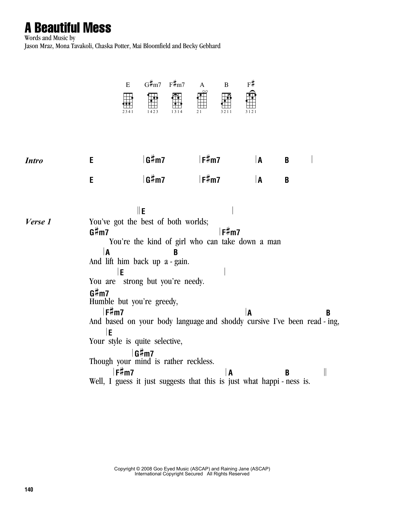 Tablature guitare A Beautiful Mess de Jason Mraz - Ukulele (strumming patterns)