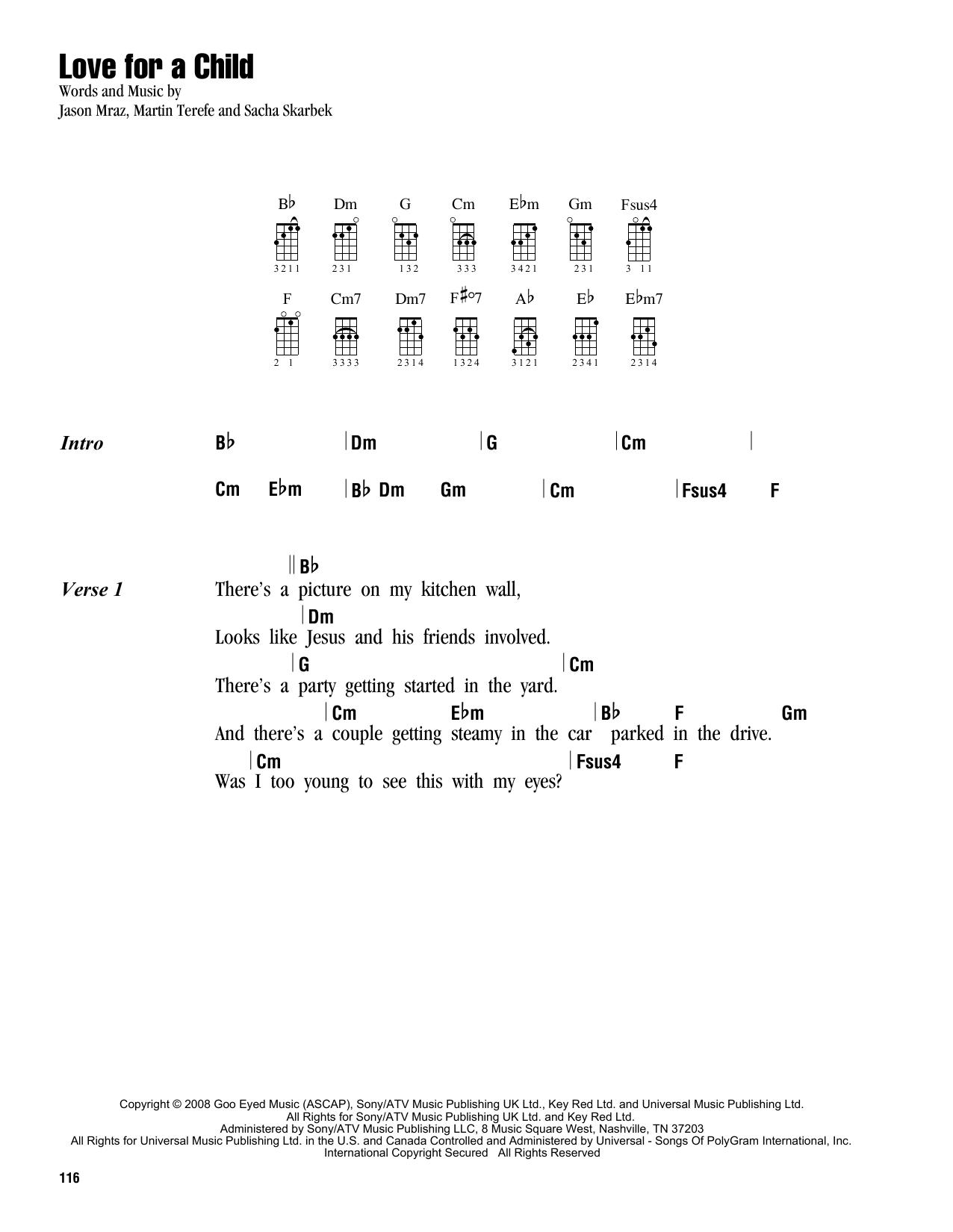 Tablature guitare Love For A Child de Jason Mraz - Ukulele (strumming patterns)