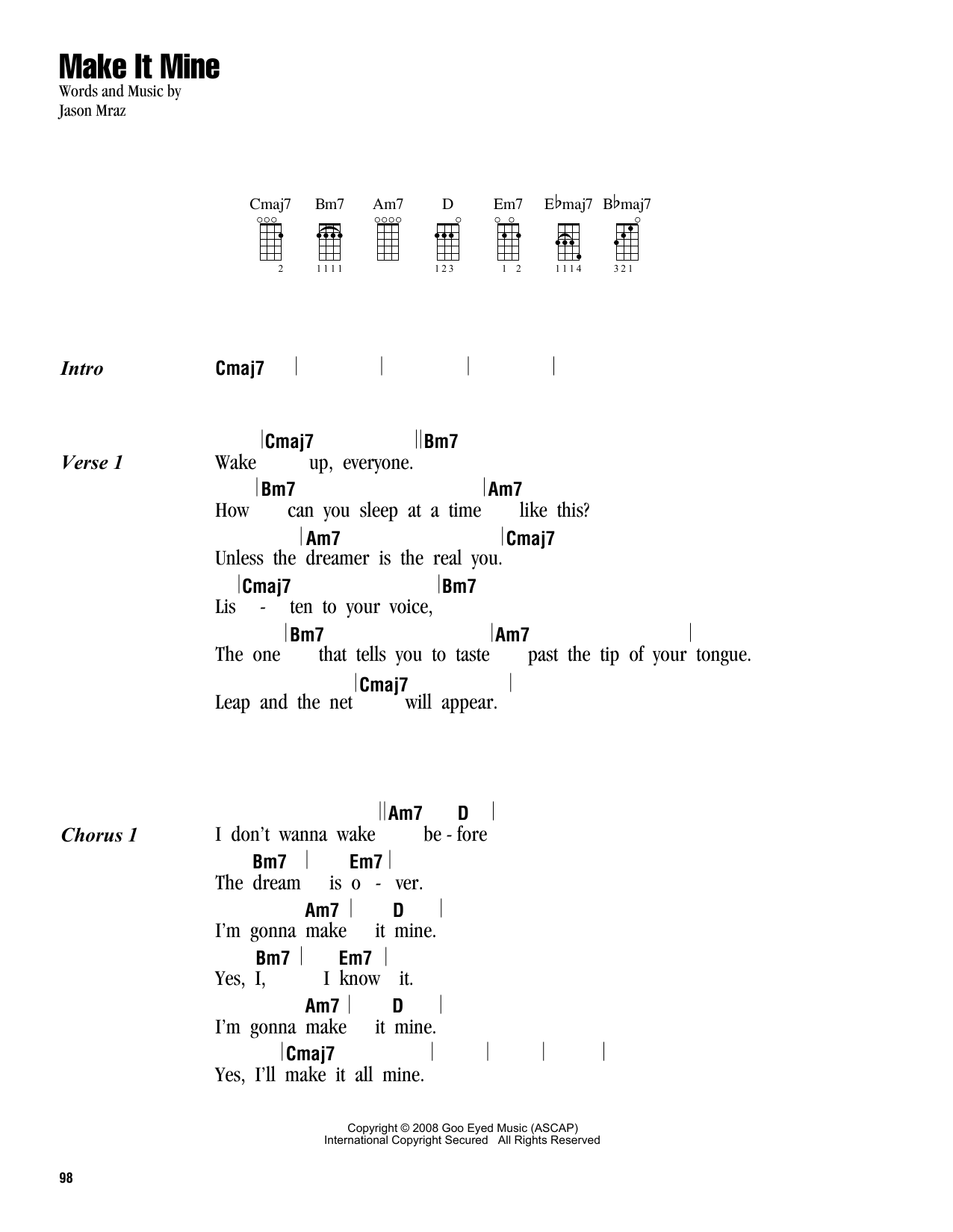 Tablature guitare Make It Mine de Jason Mraz - Ukulele (strumming patterns)