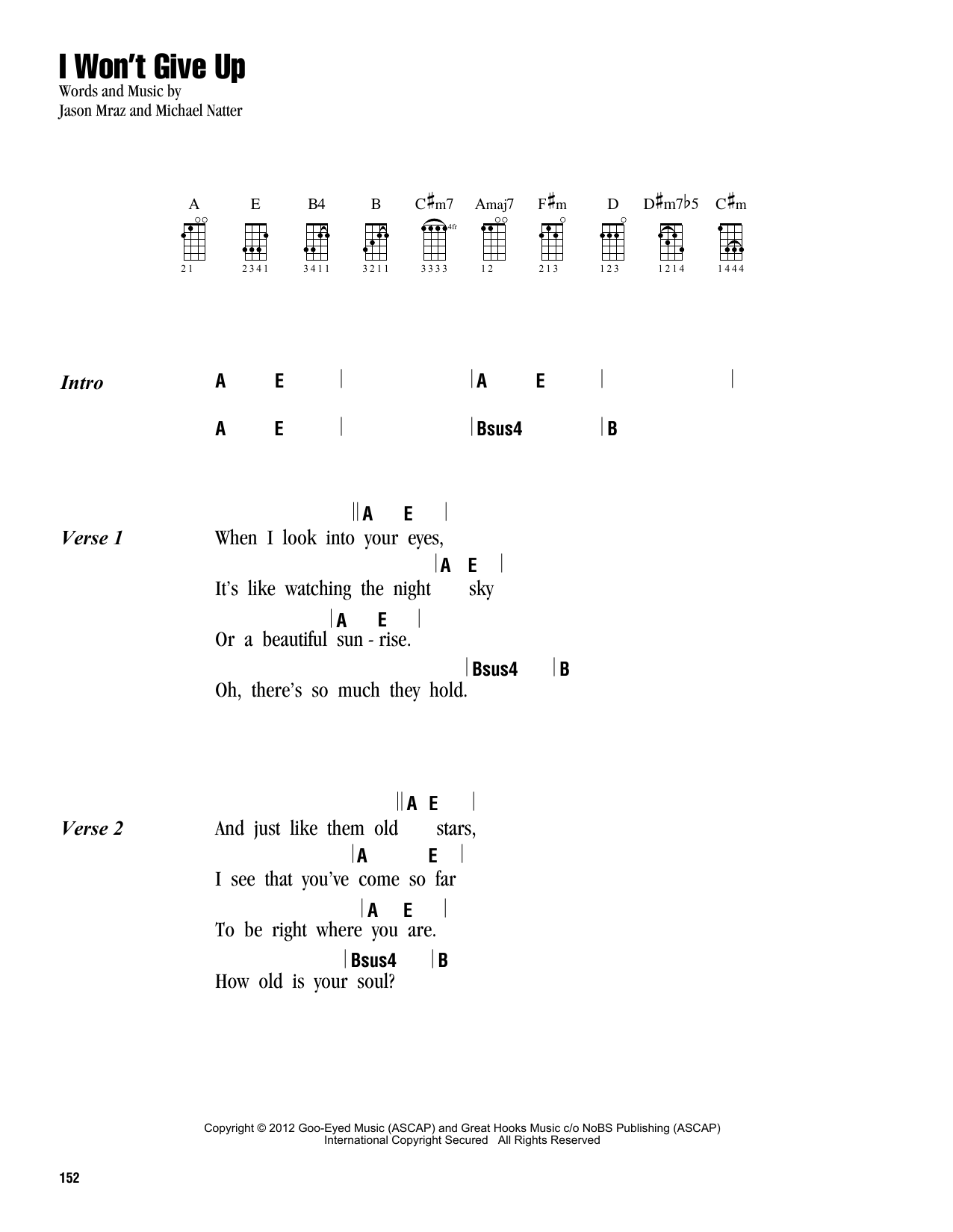 Sheet music digital files to print licensed ukulele chords i wont give up hexwebz Gallery