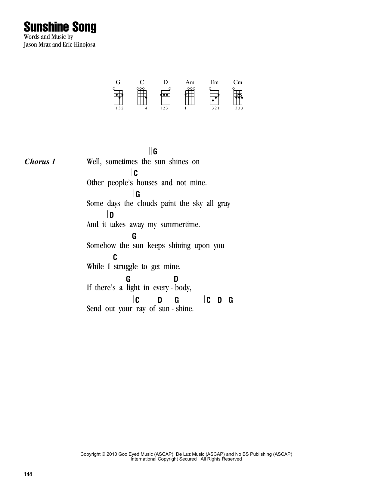 Tablature guitare Sunshine Song de Jason Mraz - Ukulele (strumming patterns)
