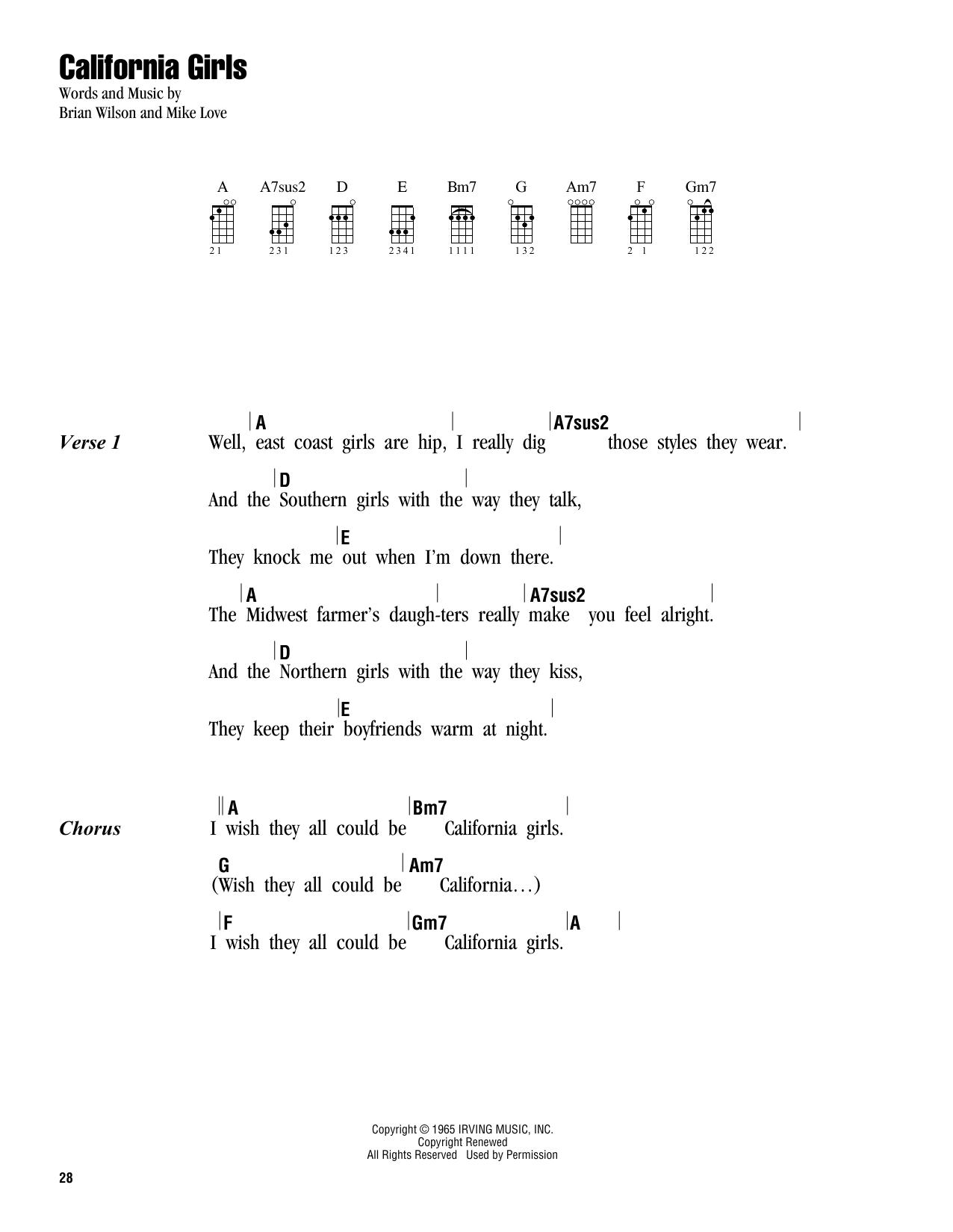 Tablature guitare California Girls de The Beach Boys - Ukulele (strumming patterns)