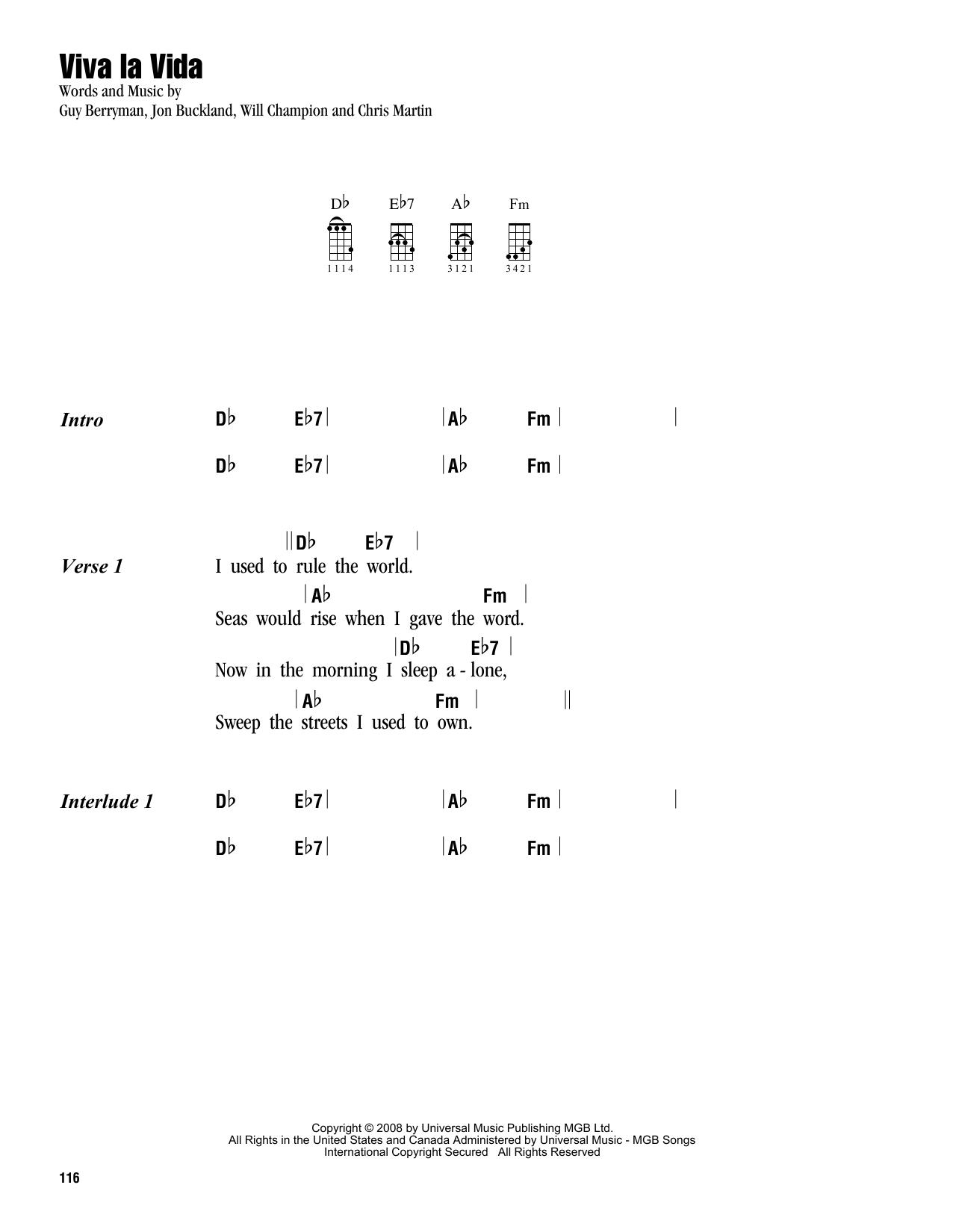 Tablature guitare Viva La Vida de Coldplay - Ukulele (strumming patterns)