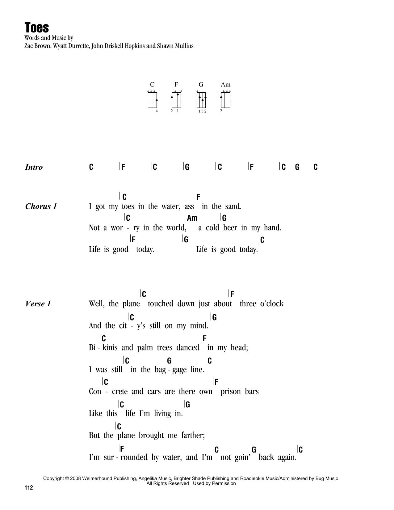 Tablature guitare Toes de Zac Brown Band - Ukulele (strumming patterns)