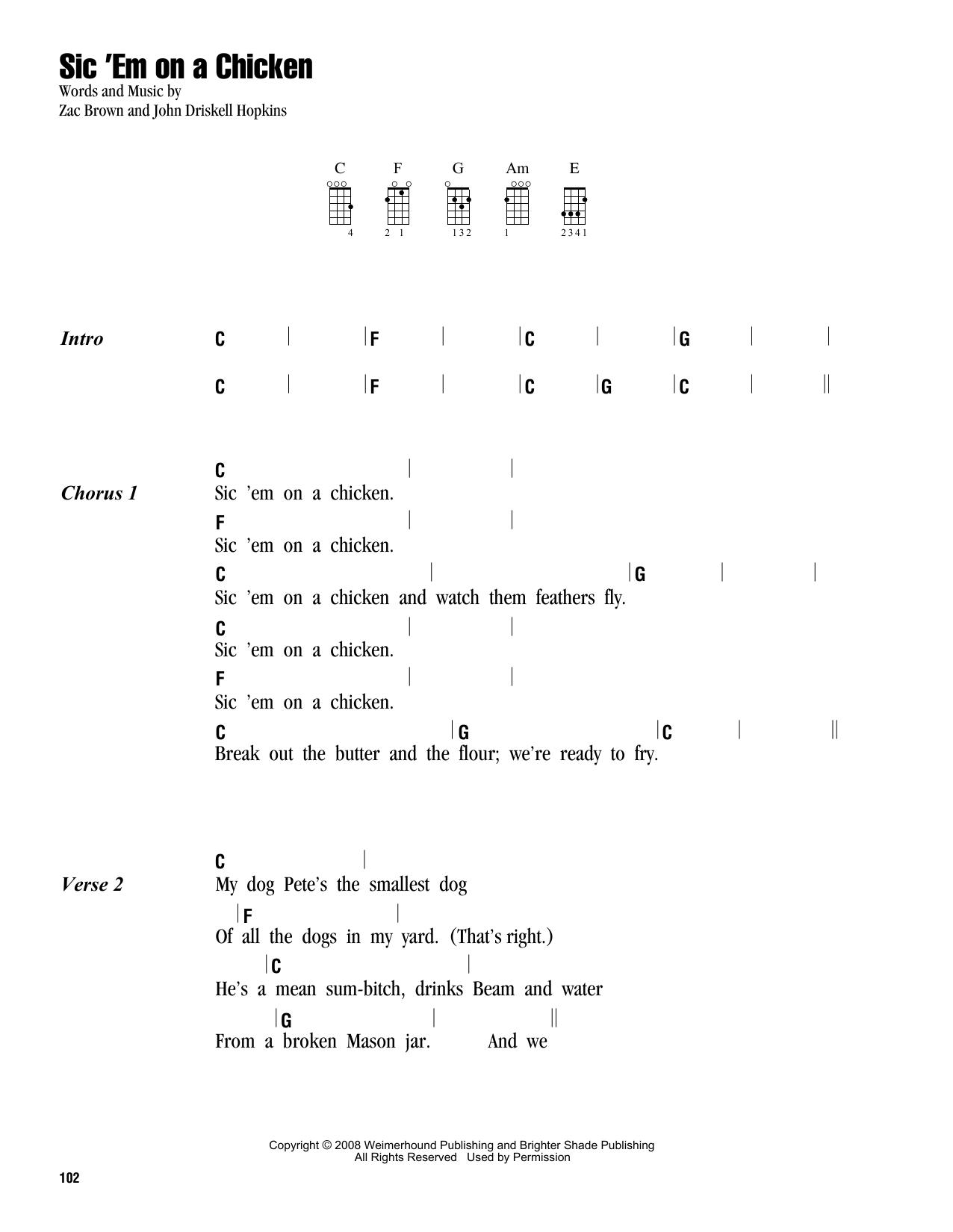 Tablature guitare Sic 'Em On A Chicken de Zac Brown Band - Ukulele (strumming patterns)
