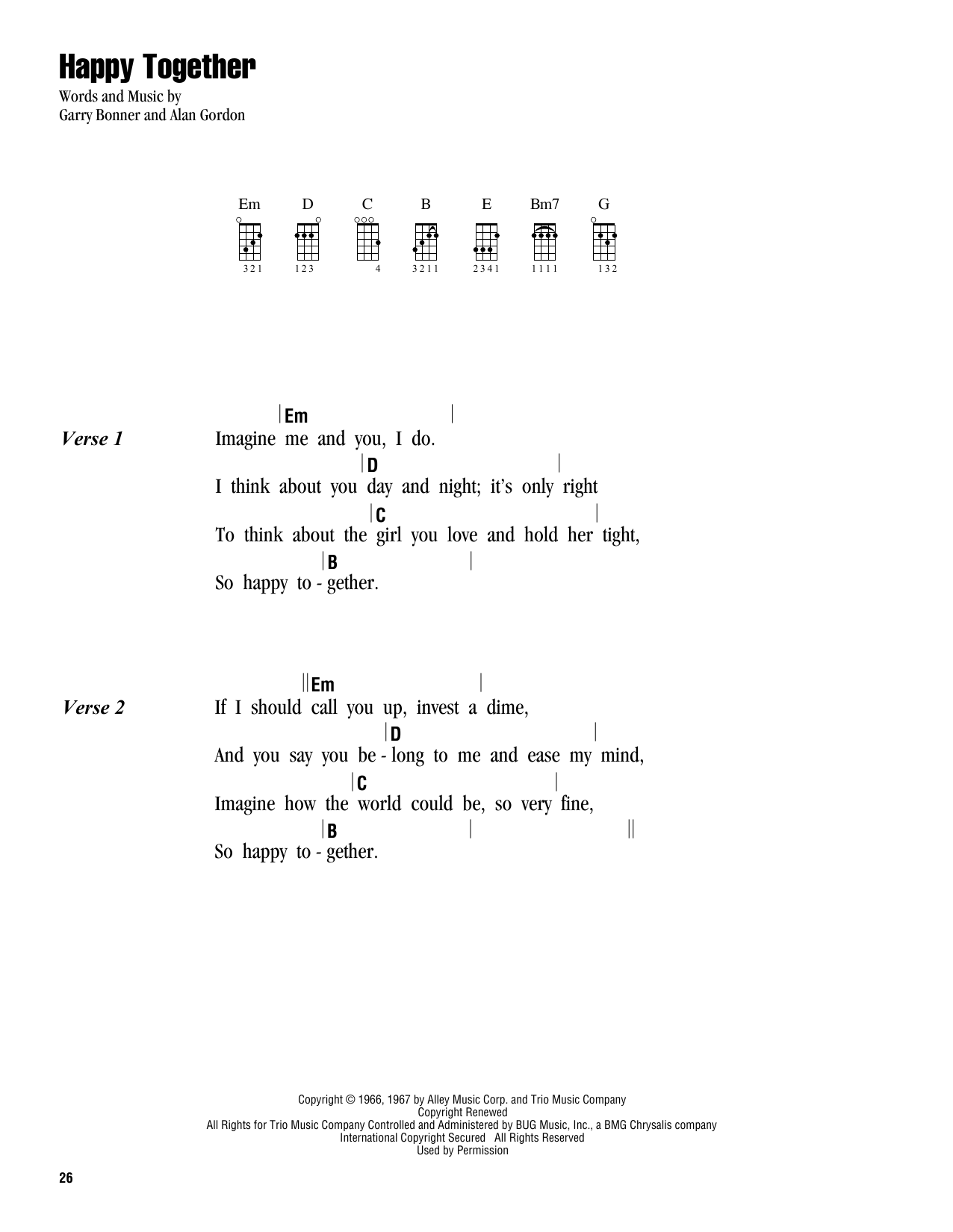 Tablature guitare Happy Together de The Turtles - Ukulele (strumming patterns)