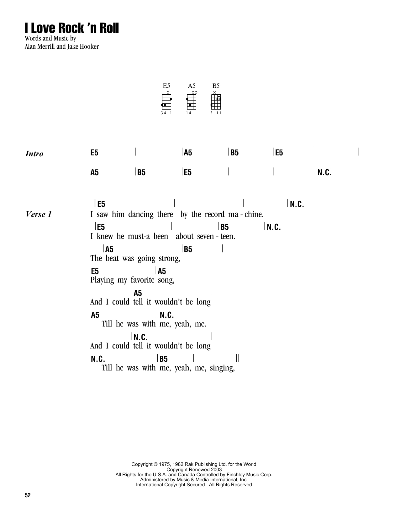 Tablature guitare I Love Rock 'N Roll de Joan Jett & The Blackhearts - Ukulele (strumming patterns)