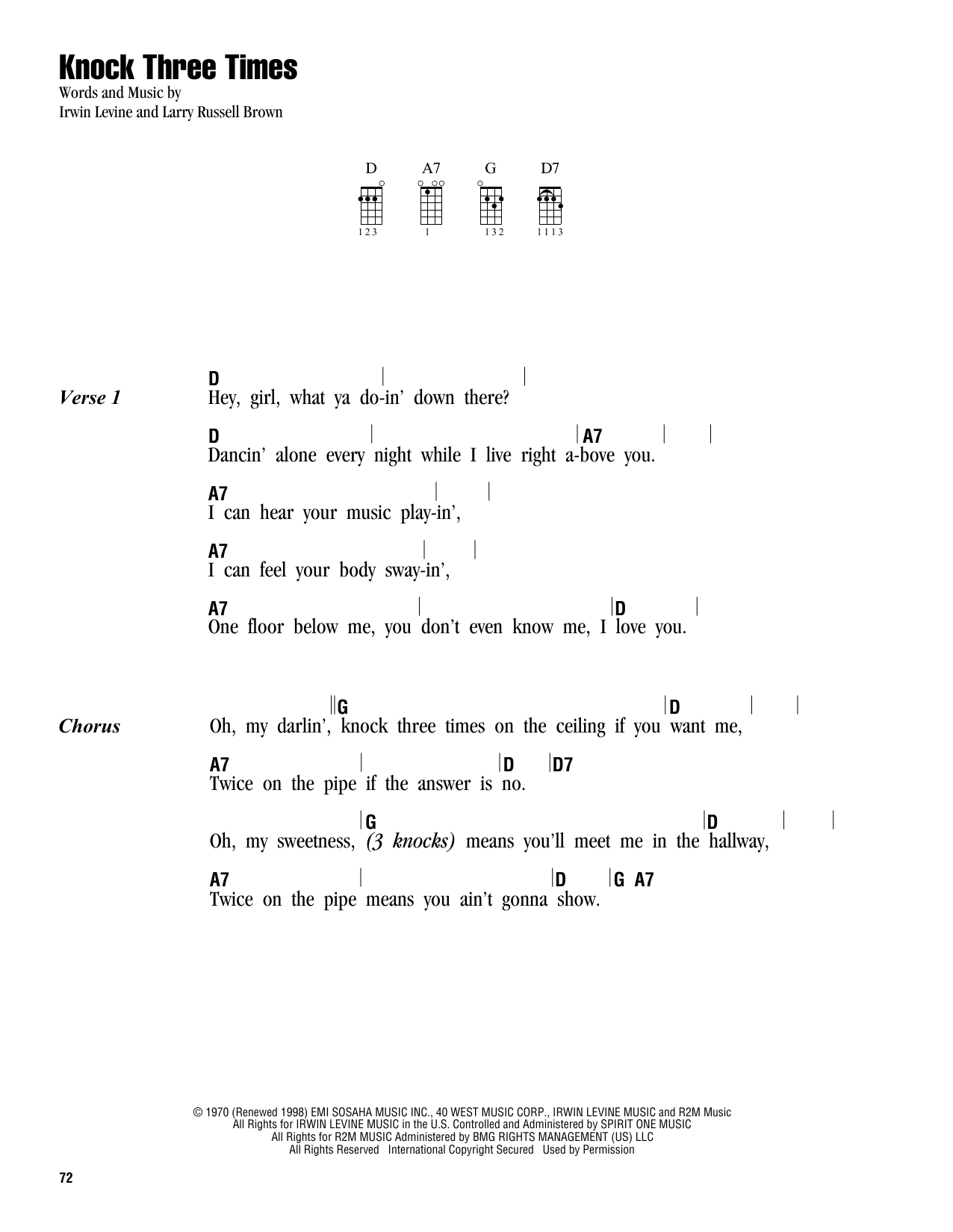 Tablature guitare Knock Three Times de Dawn - Ukulele (strumming patterns)