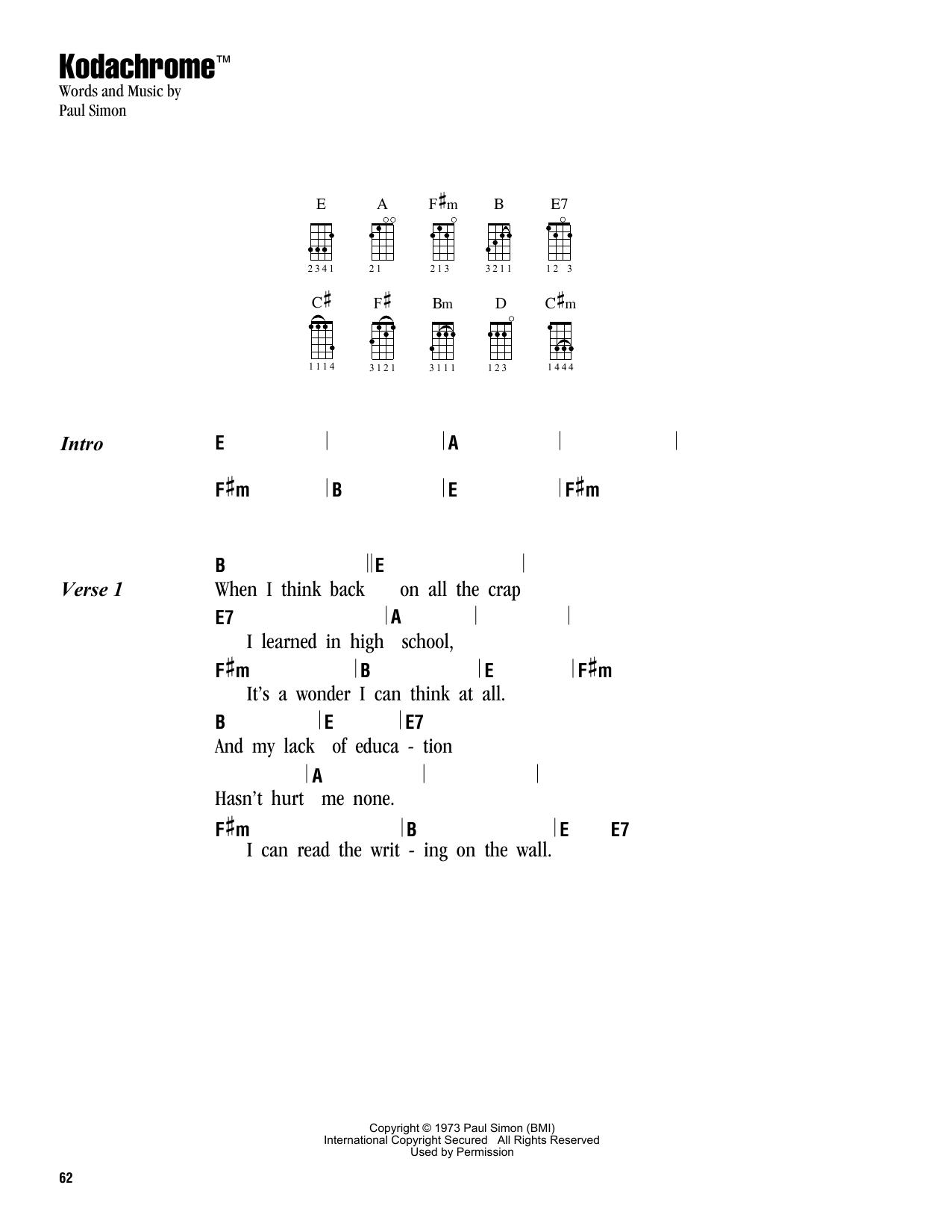 Tablature guitare Kodachrome TM de Simon & Garfunkel - Ukulele (strumming patterns)