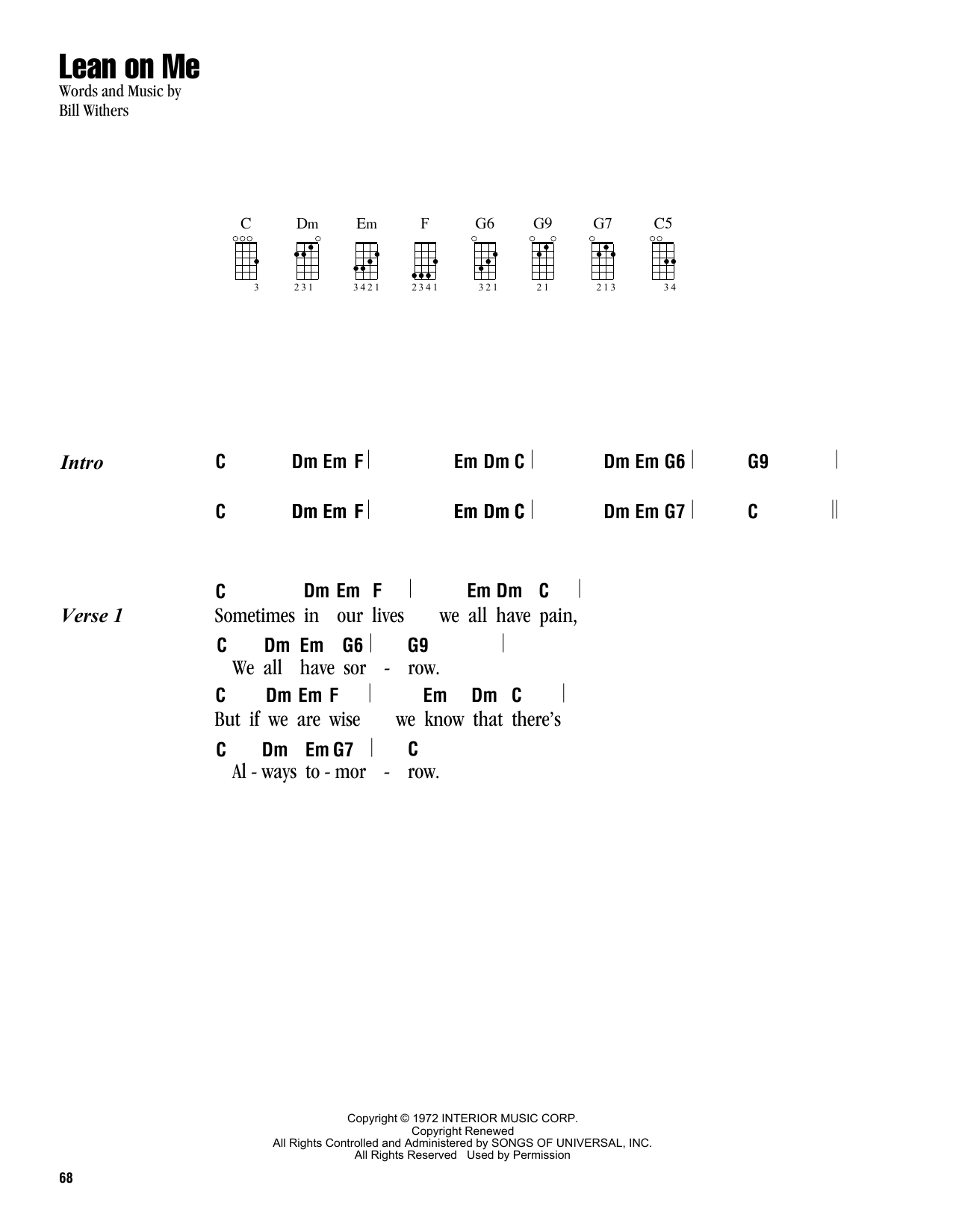 Tablature guitare Lean On Me de Bill Withers - Ukulele (strumming patterns)