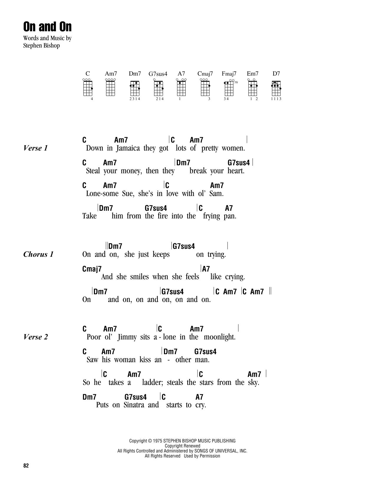 Tablature guitare On And On de Stephen Bishop - Ukulele (strumming patterns)