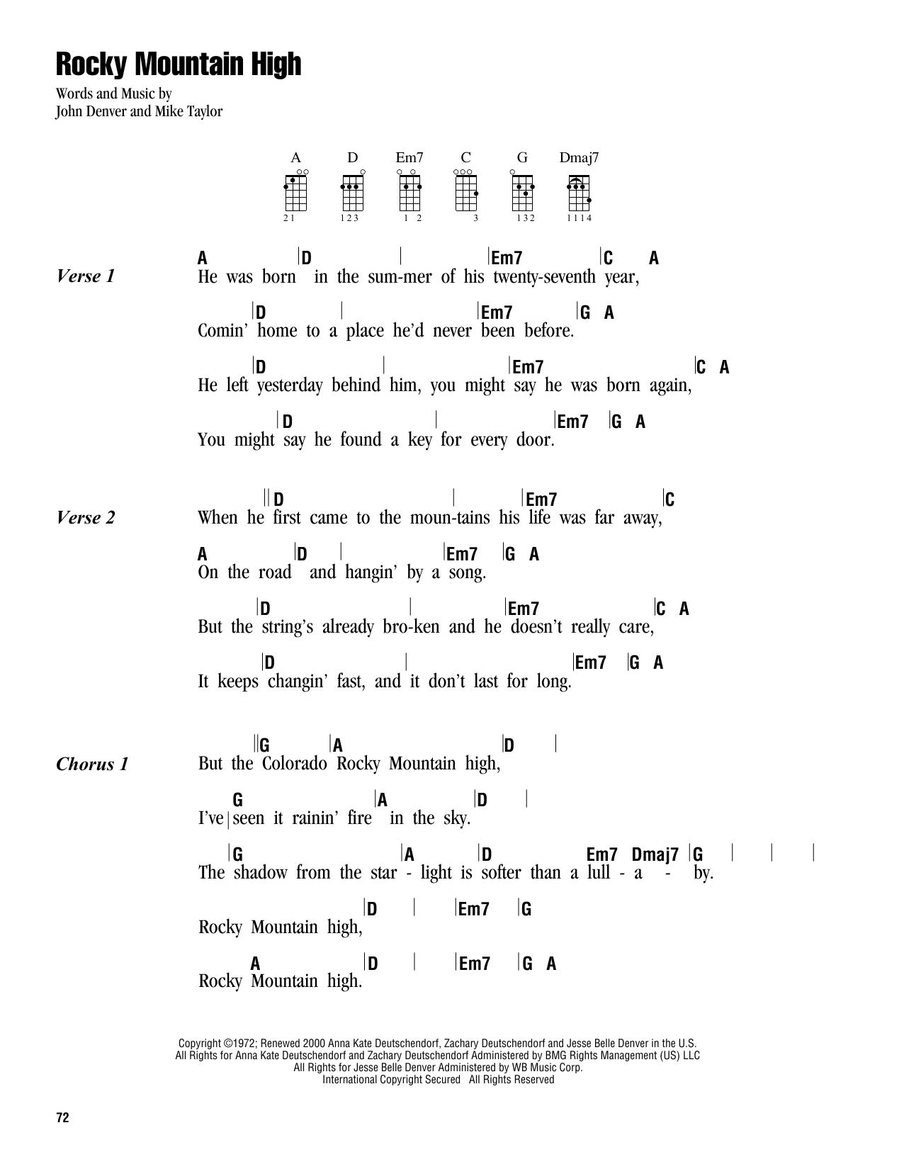 Tablature guitare Rocky Mountain High de John Denver - Ukulele (strumming patterns)