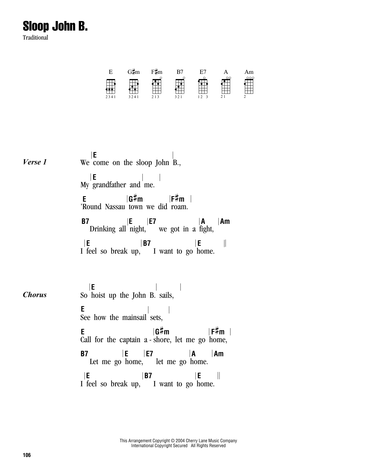 Tablature guitare Sloop John B. de Traditional - Ukulele (strumming patterns)