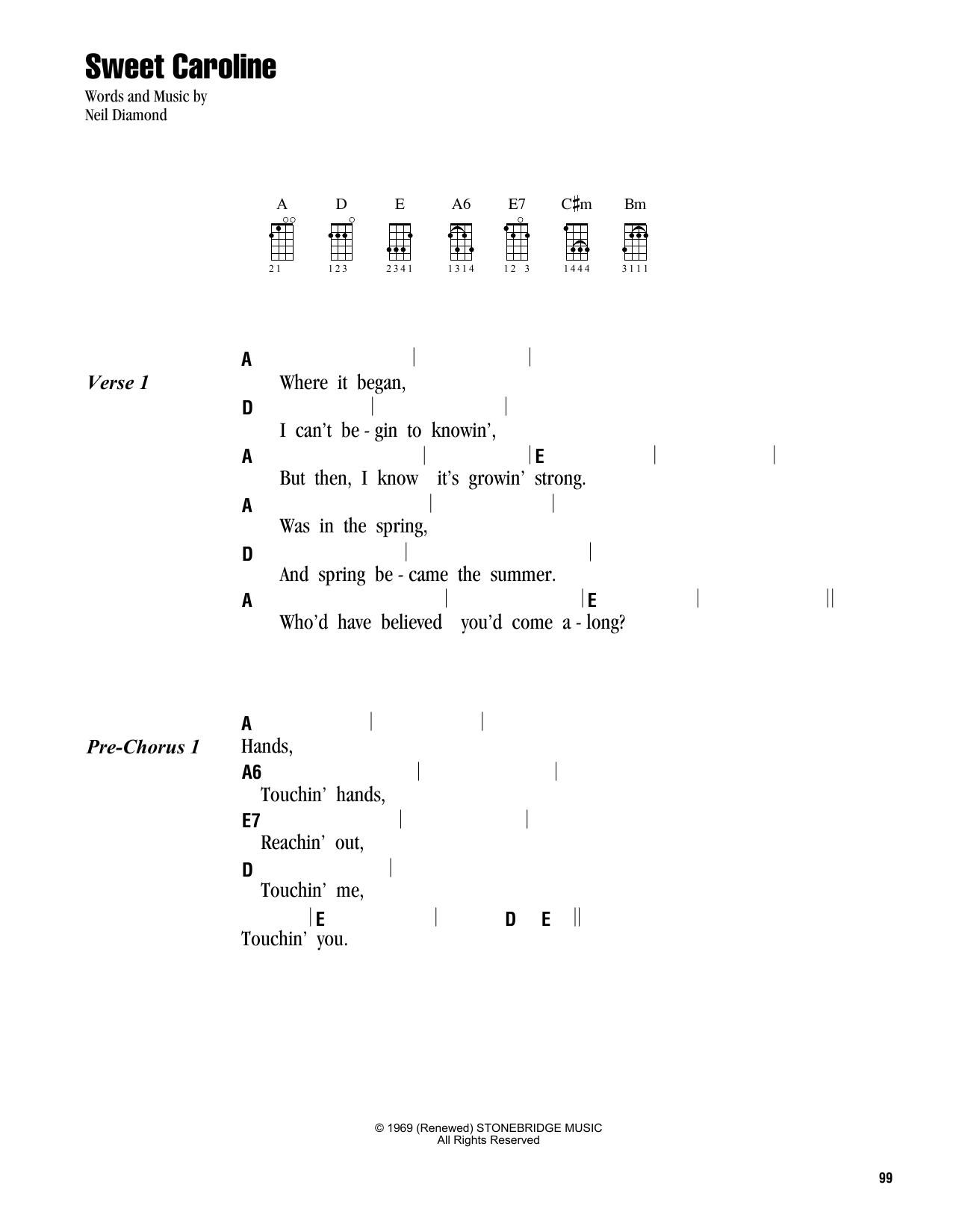 Tablature guitare Sweet Caroline de Neil Diamond - Ukulele (strumming patterns)