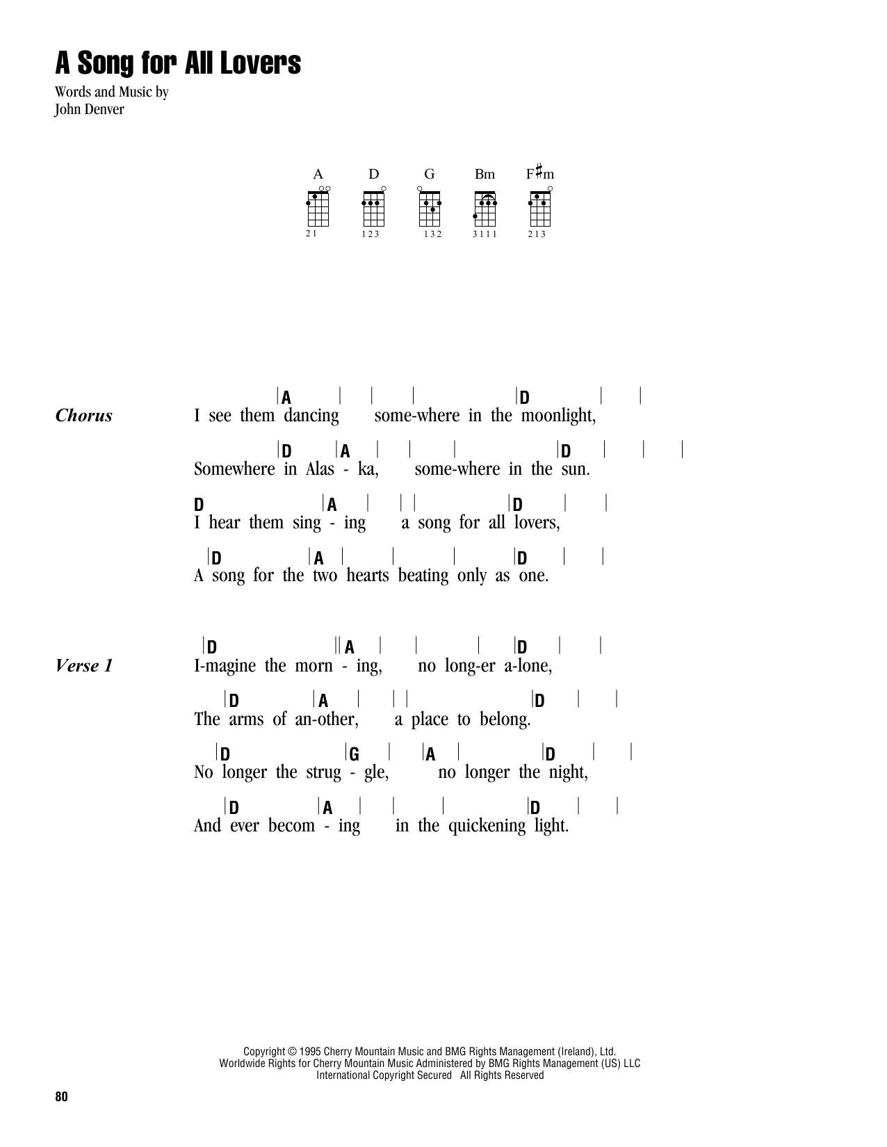Tablature guitare A Song For All Lovers de John Denver - Ukulele (strumming patterns)