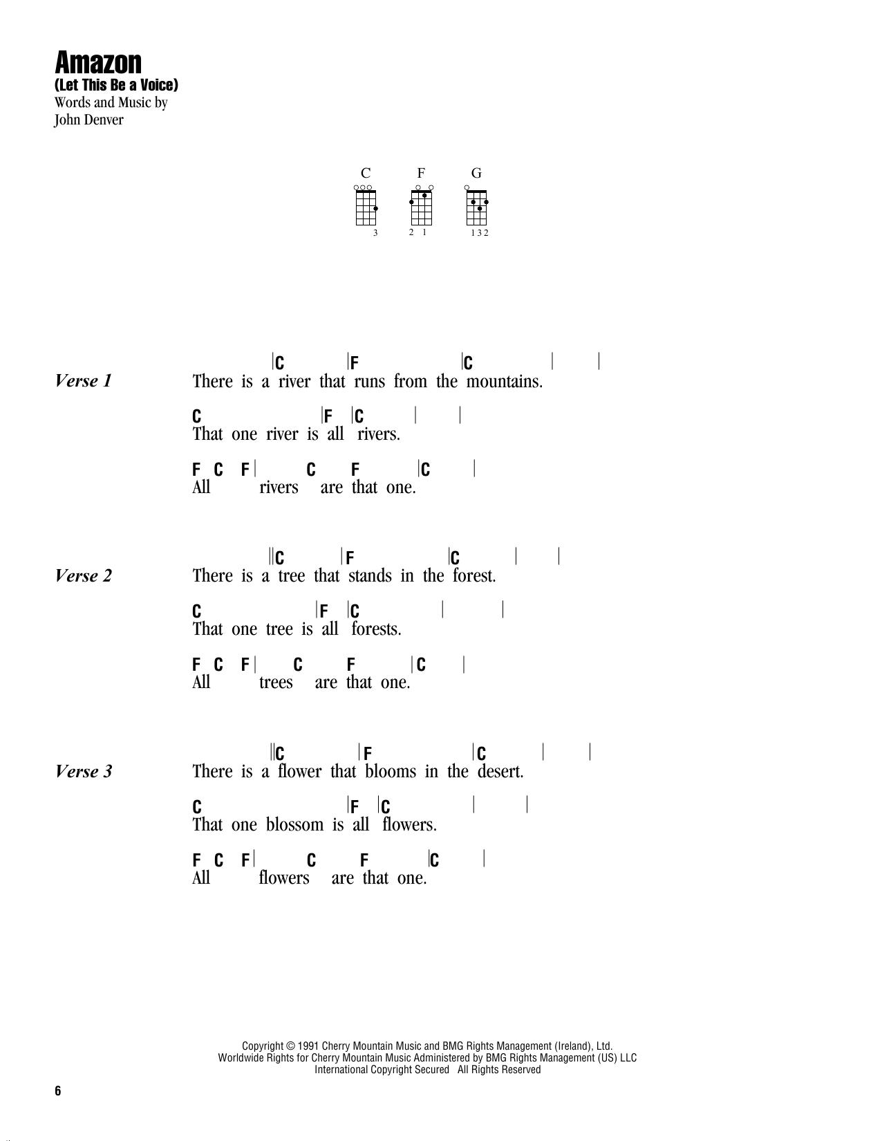 Tablature guitare Amazon (Let This Be A Voice) de John Denver - Ukulele (strumming patterns)