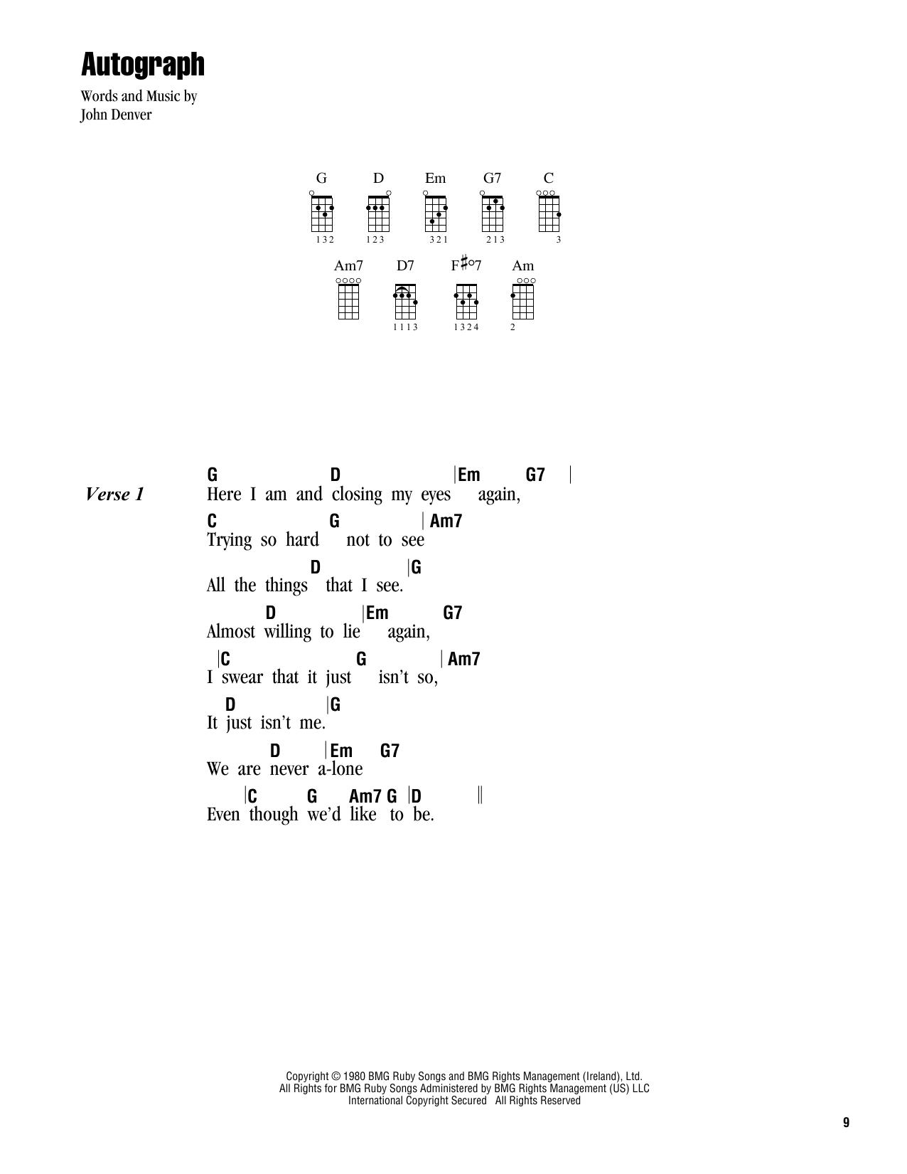 Tablature guitare Autograph de John Denver - Ukulele (strumming patterns)