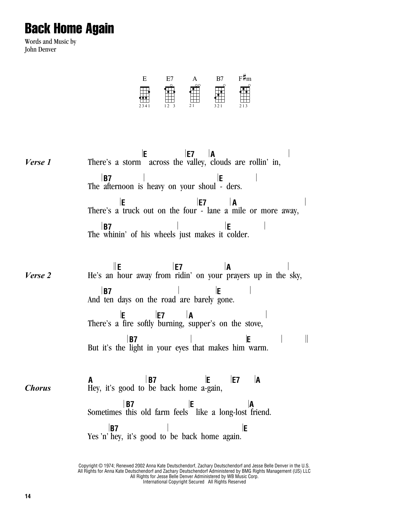 Tablature guitare Back Home Again de John Denver - Ukulele (strumming patterns)