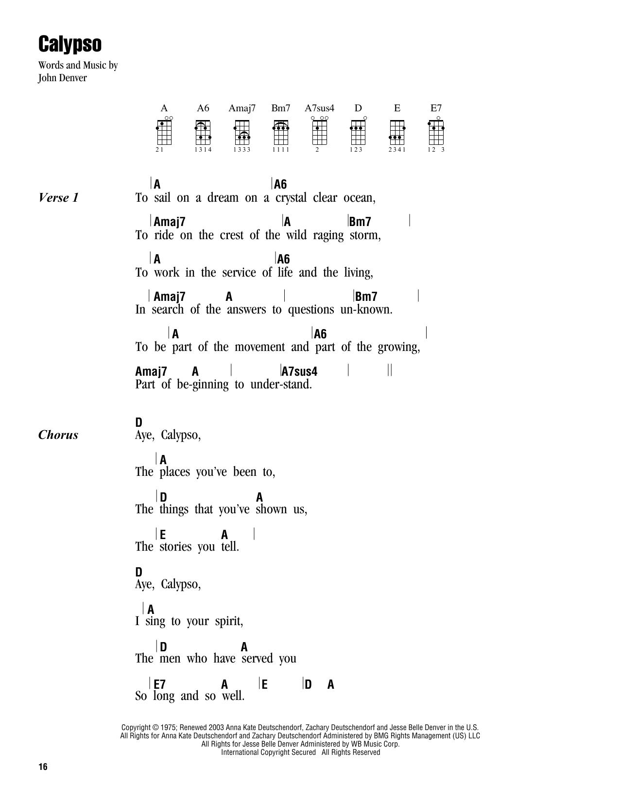 Tablature guitare Calypso de John Denver - Ukulele (strumming patterns)