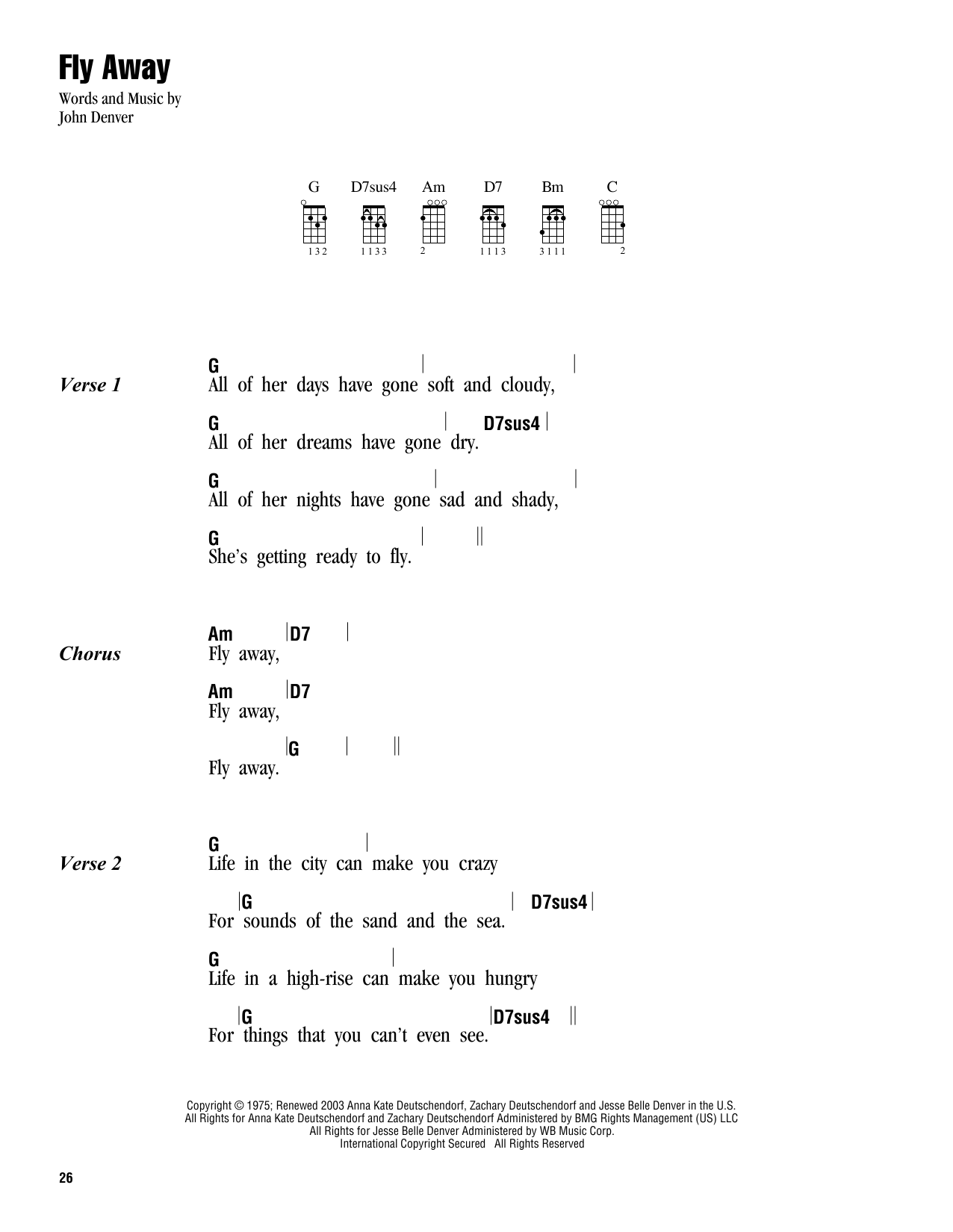 Tablature guitare Fly Away de John Denver - Ukulele (strumming patterns)