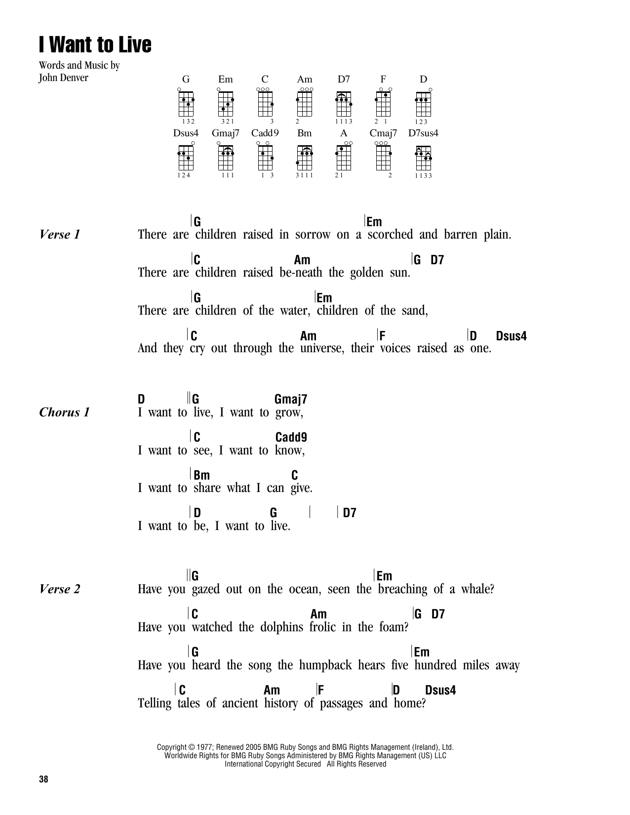 Tablature guitare I Want To Live de John Denver - Ukulele (strumming patterns)