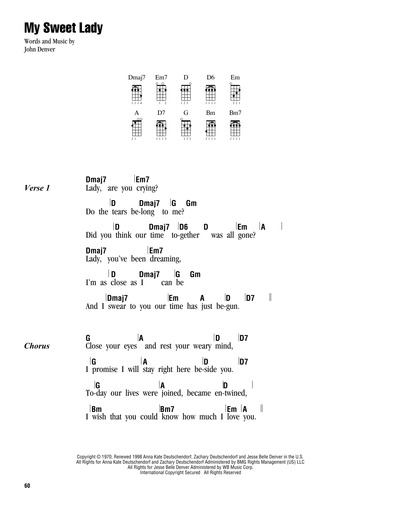 Tablature guitare My Sweet Lady de John Denver - Ukulele (strumming patterns)