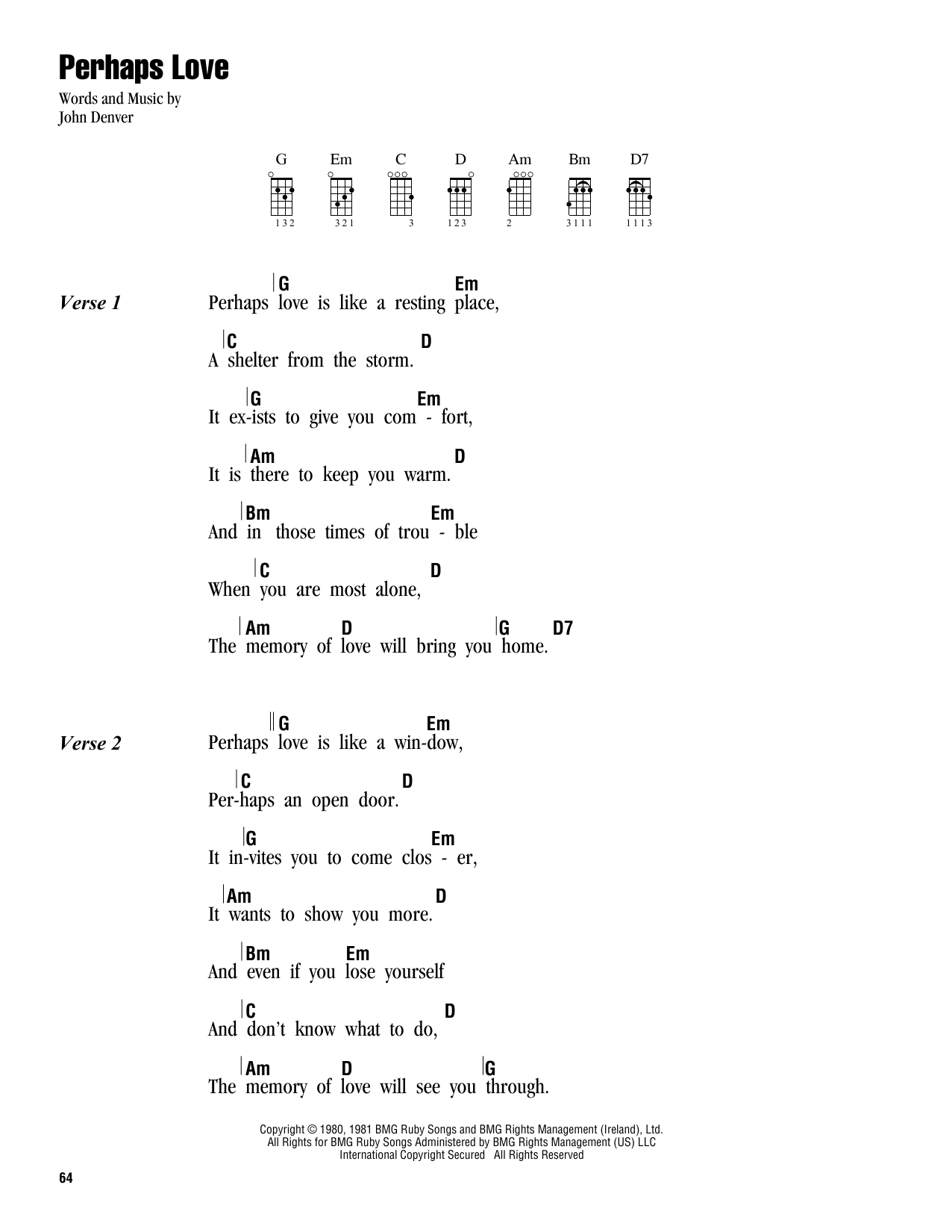 Tablature guitare Perhaps Love de John Denver - Ukulele (strumming patterns)