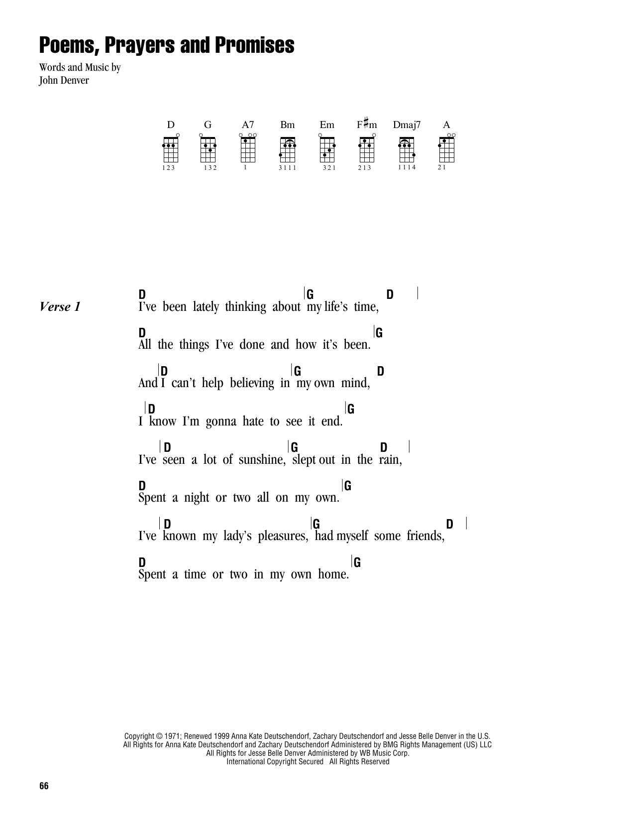 Tablature guitare Poems, Prayers And Promises de John Denver - Ukulele (strumming patterns)