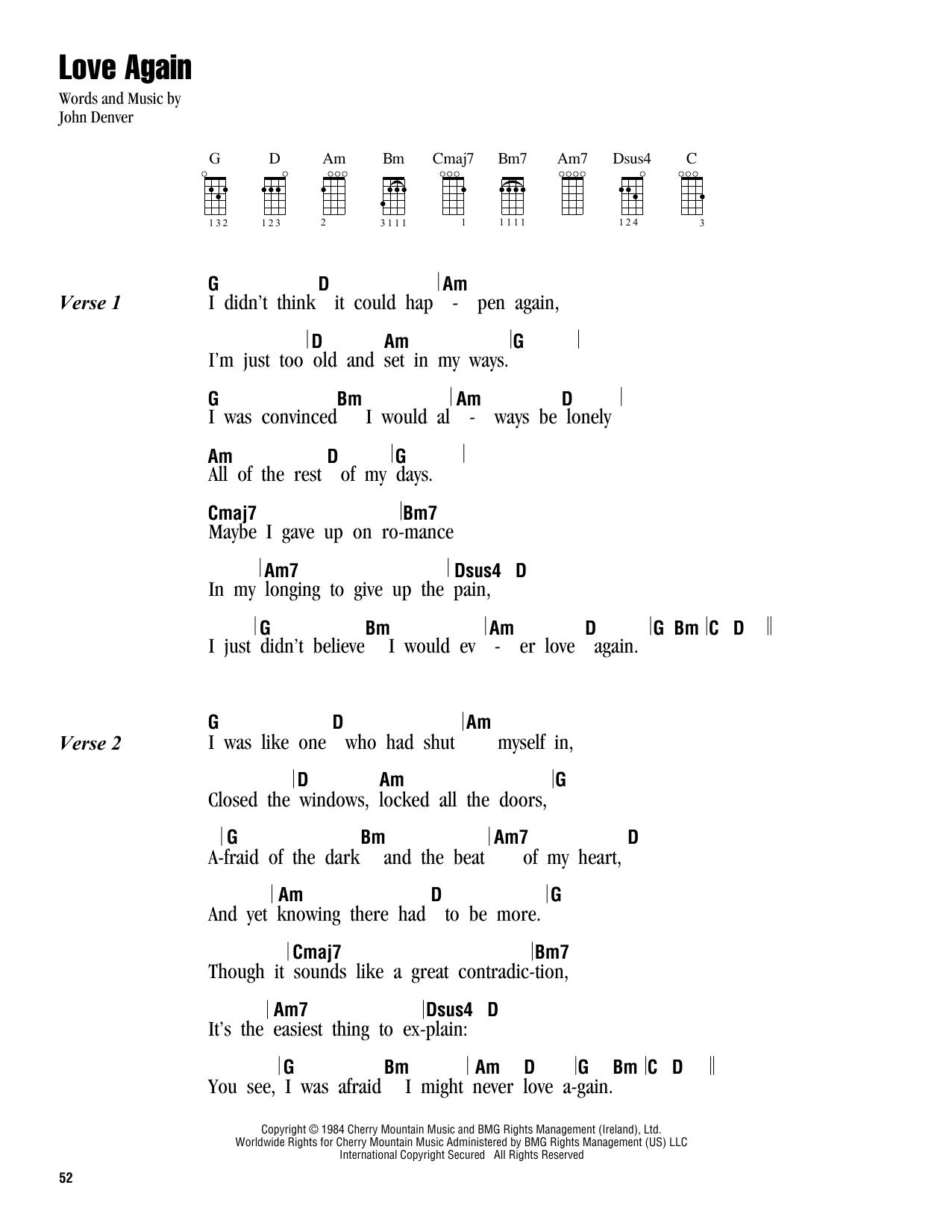 Tablature guitare Love Again de John Denver - Ukulele (strumming patterns)