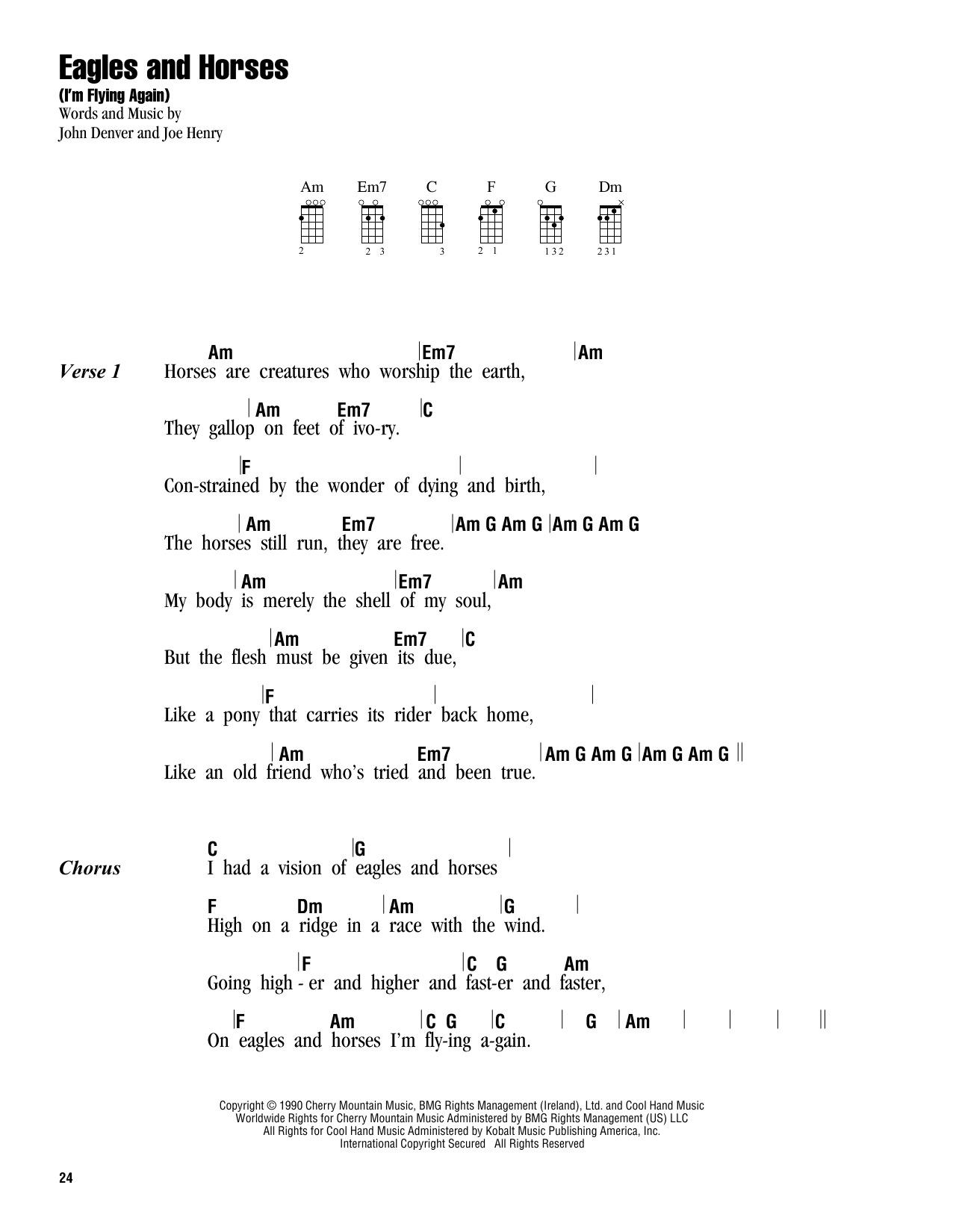 Tablature guitare Eagles And Horses (I'm Flying Again) de John Denver - Ukulele (strumming patterns)