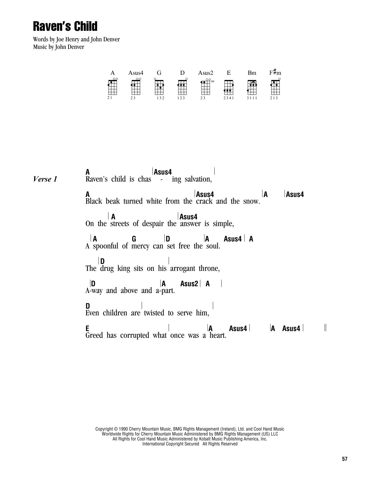 Tablature guitare Raven's Child de John Denver - Ukulele (strumming patterns)