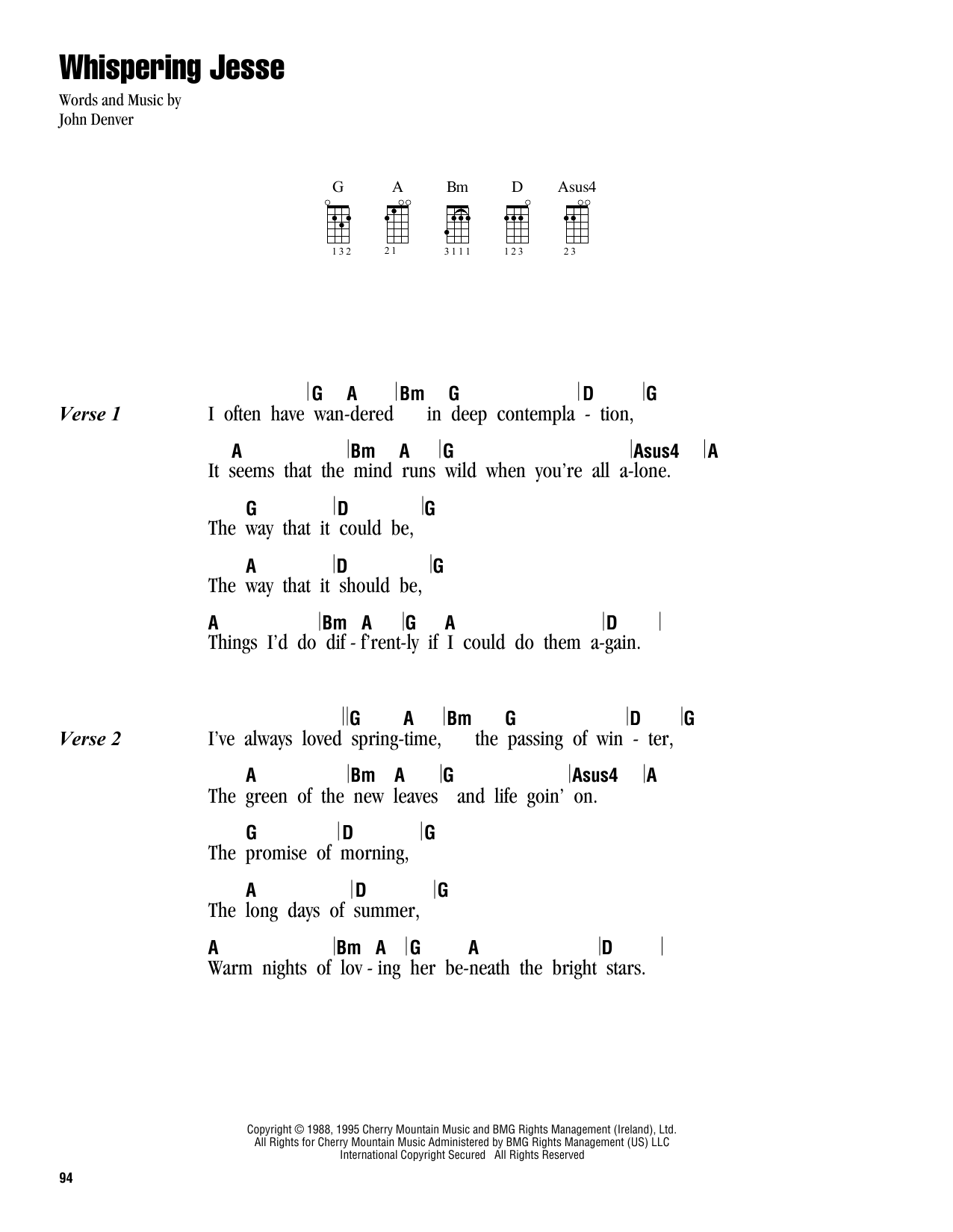 Tablature guitare Whispering Jesse de John Denver - Ukulele (strumming patterns)