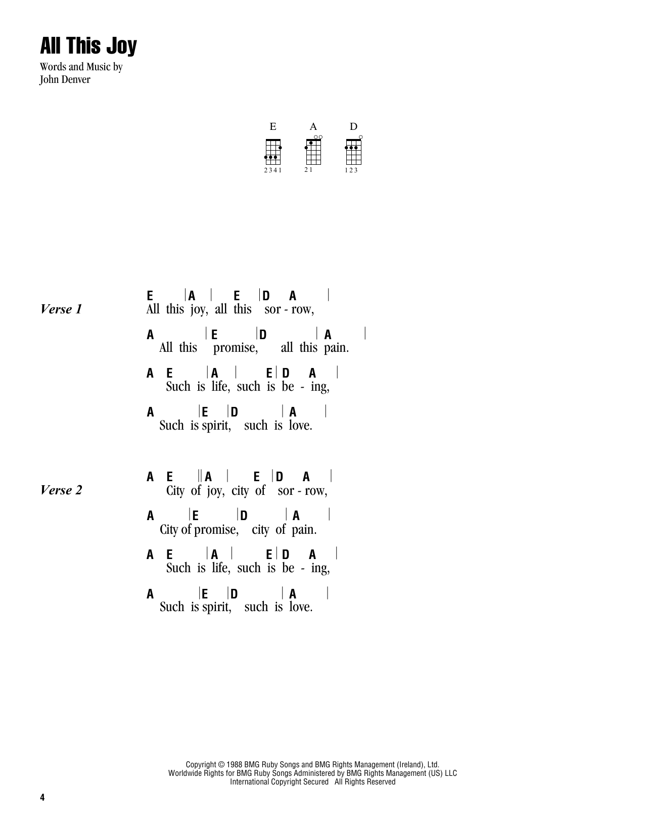 Tablature guitare All This Joy de John Denver - Ukulele (strumming patterns)