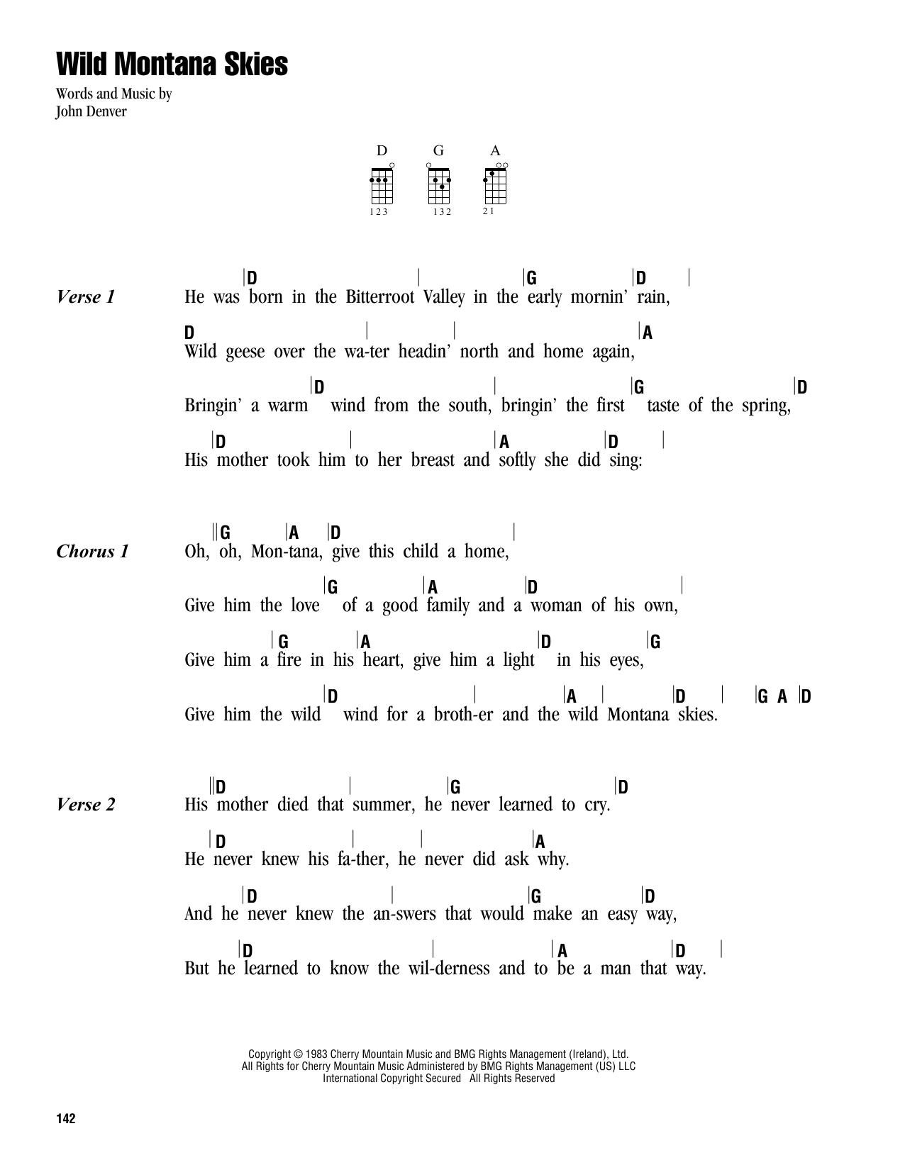 Tablature guitare Wild Montana Skies de John Denver - Ukulele (strumming patterns)