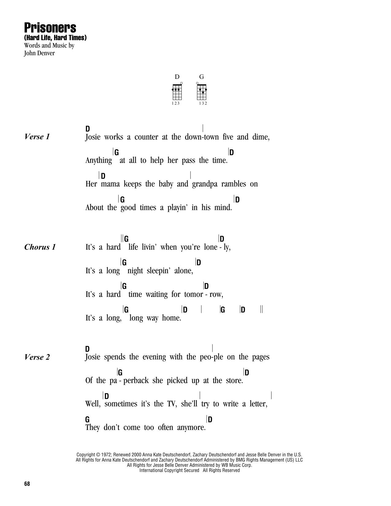 Tablature guitare Prisoners (Hard Life, Hard Times) de John Denver - Ukulele (strumming patterns)
