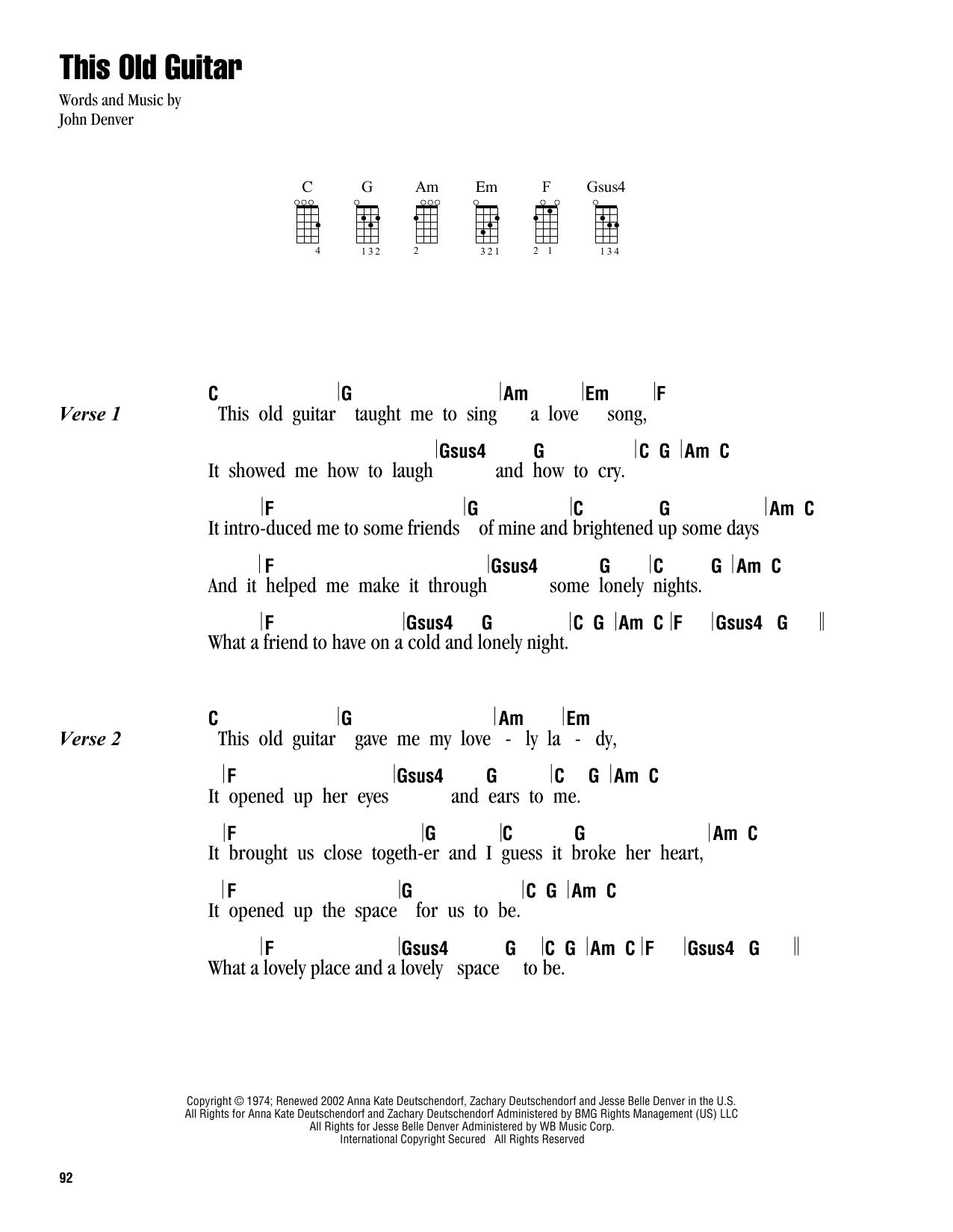 Tablature guitare This Old Guitar de John Denver - Ukulele (strumming patterns)