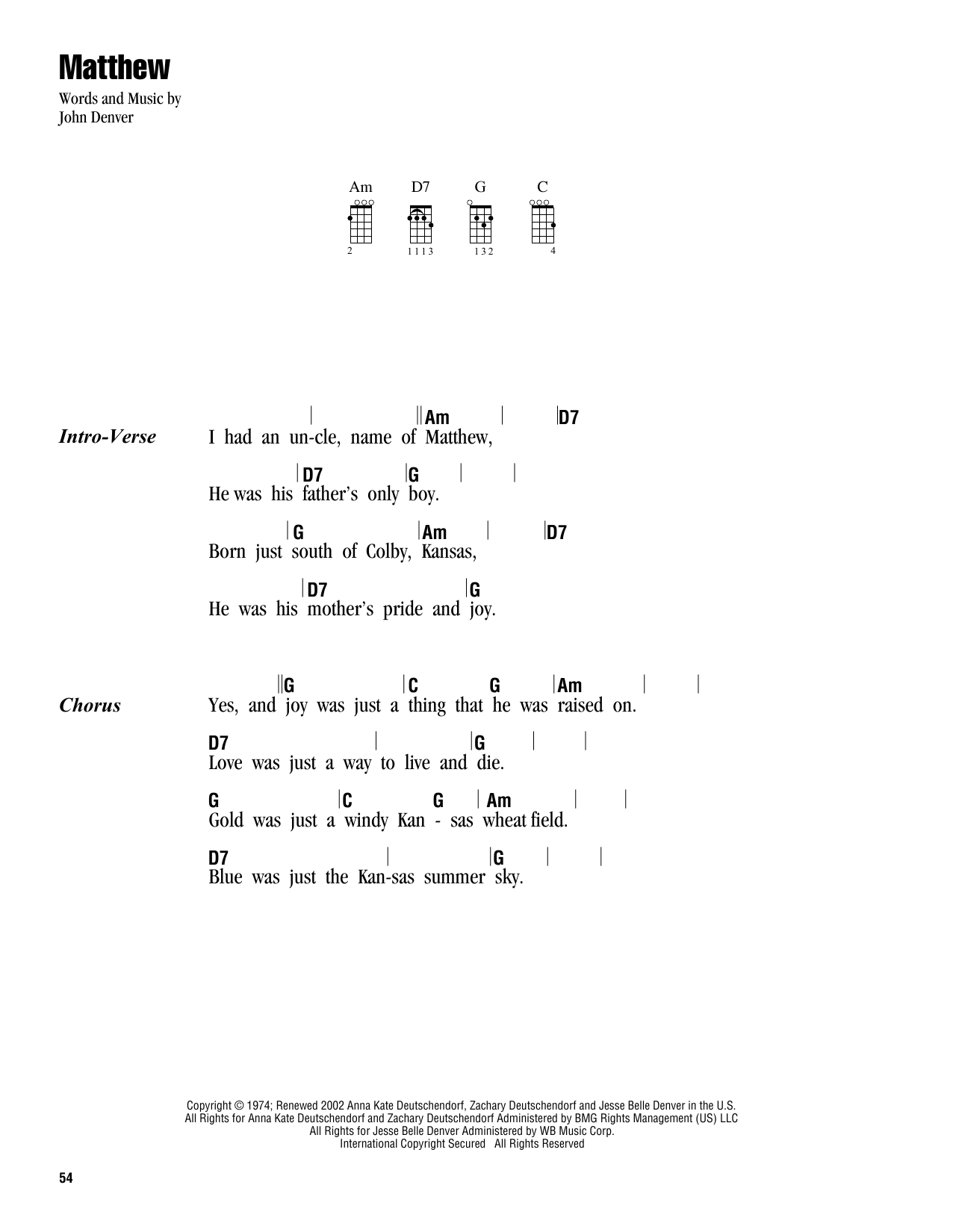 Tablature guitare Matthew de John Denver - Ukulele (strumming patterns)