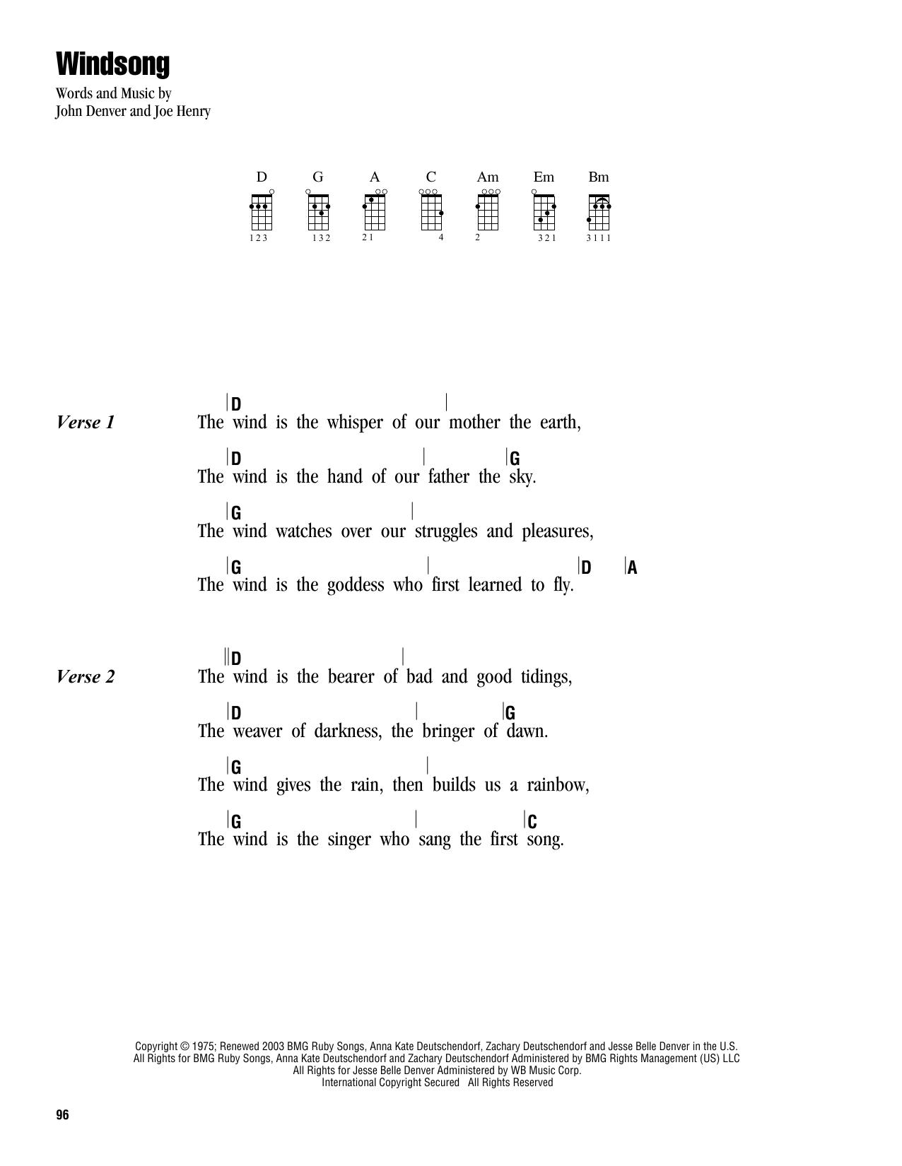 Tablature guitare Windsong de John Denver - Ukulele (strumming patterns)