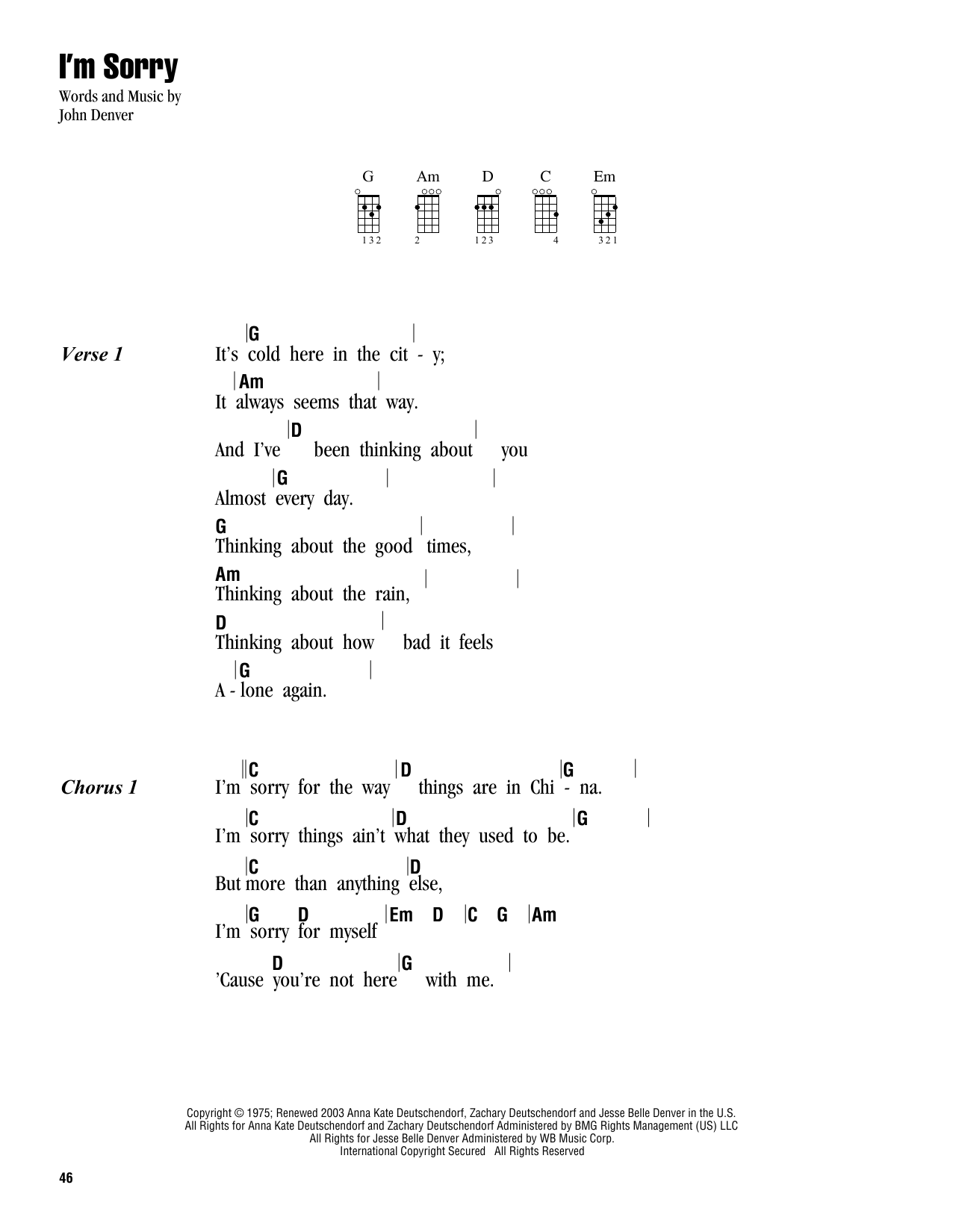 Tablature guitare I'm Sorry de John Denver - Ukulele (strumming patterns)