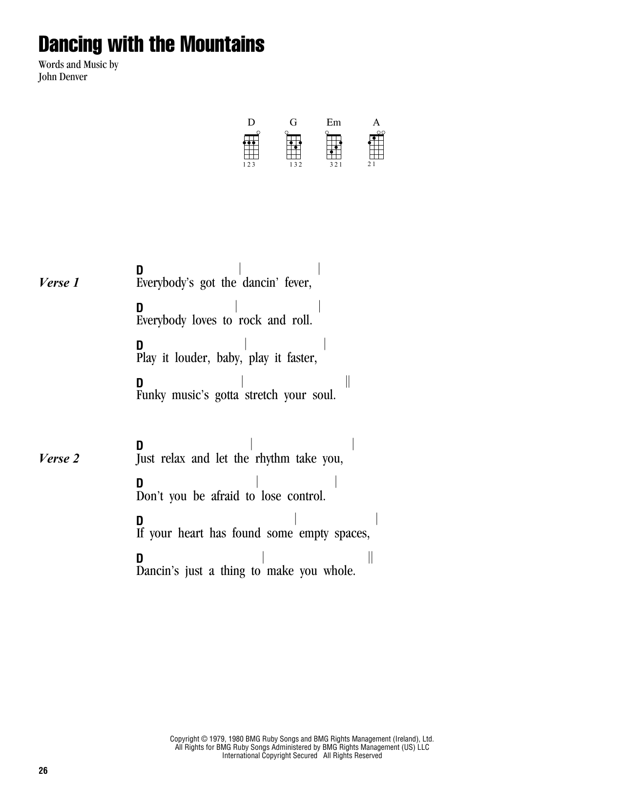 Tablature guitare Dancing With The Mountains de John Denver - Ukulele (strumming patterns)
