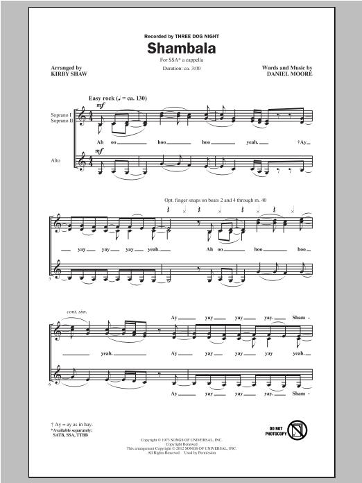 Partition chorale Shambala de Three Dog Night - SSA