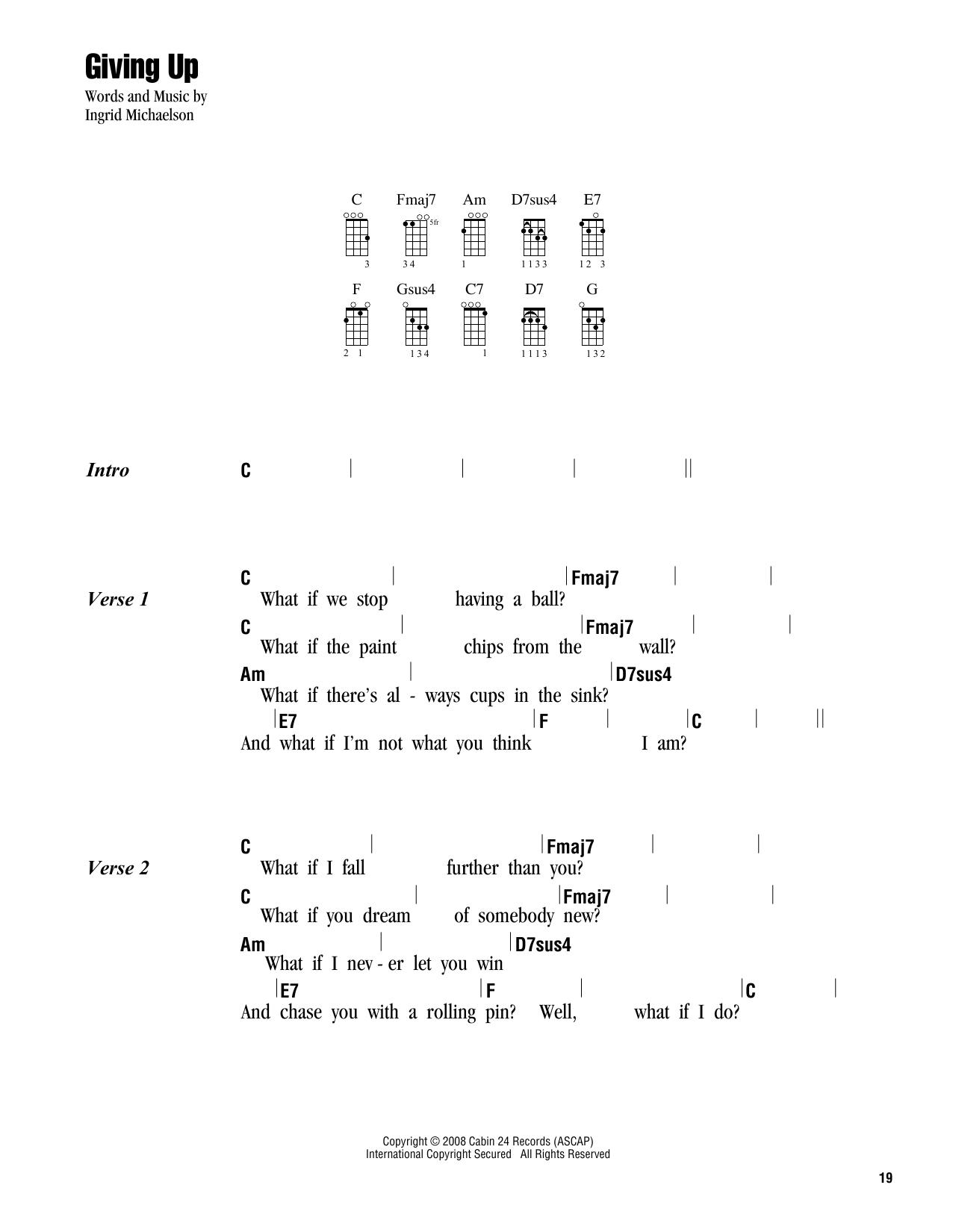 Tablature guitare Giving Up de Ingrid Michaelson - Ukulele (strumming patterns)