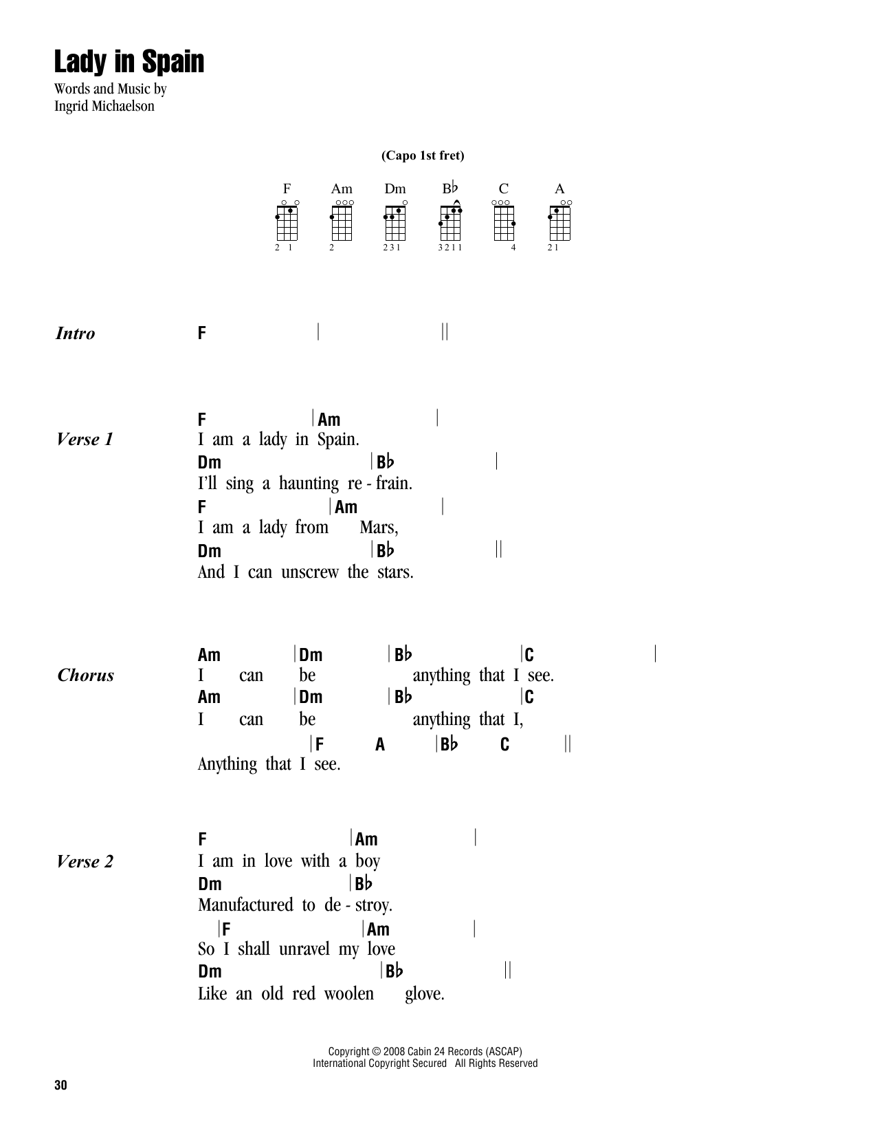 Tablature guitare Lady In Spain de Ingrid Michaelson - Ukulele (strumming patterns)