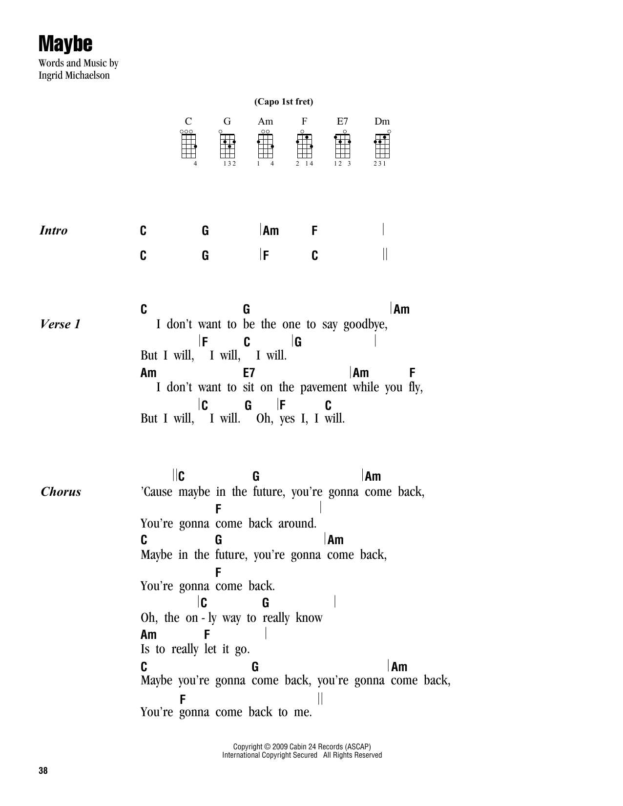 Tablature guitare Maybe de Ingrid Michaelson - Ukulele (strumming patterns)
