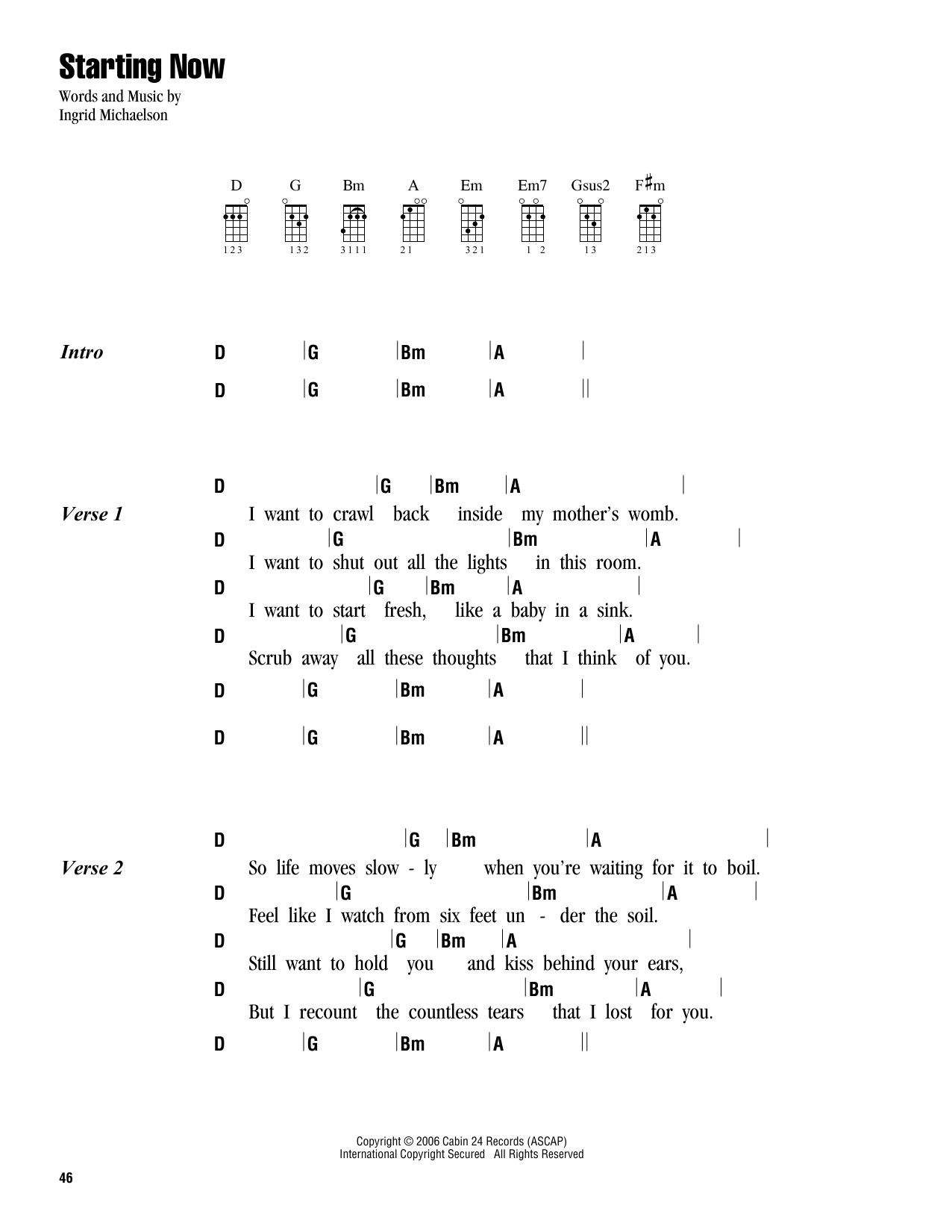 Tablature guitare Starting Now de Ingrid Michaelson - Ukulele (strumming patterns)
