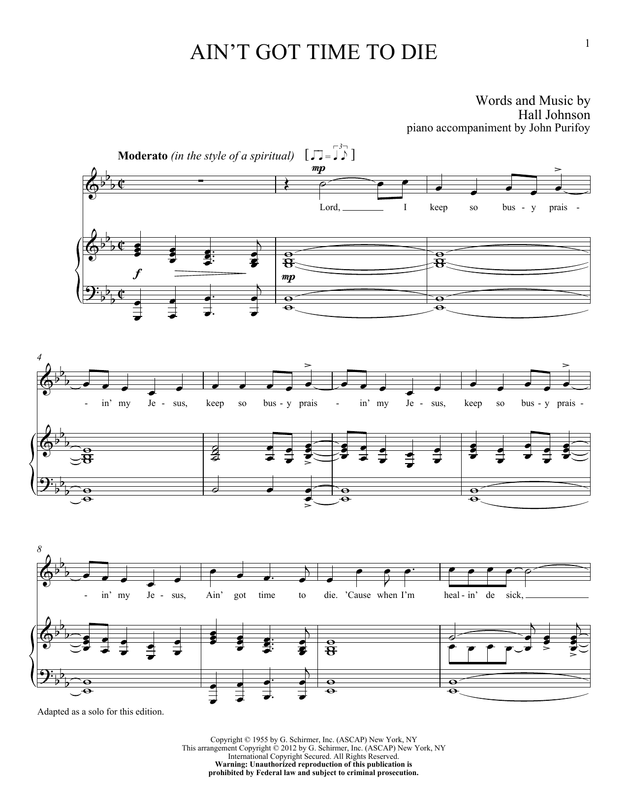 Partition piano Ain't Got Time to Die de Hall Johnson - Piano Voix