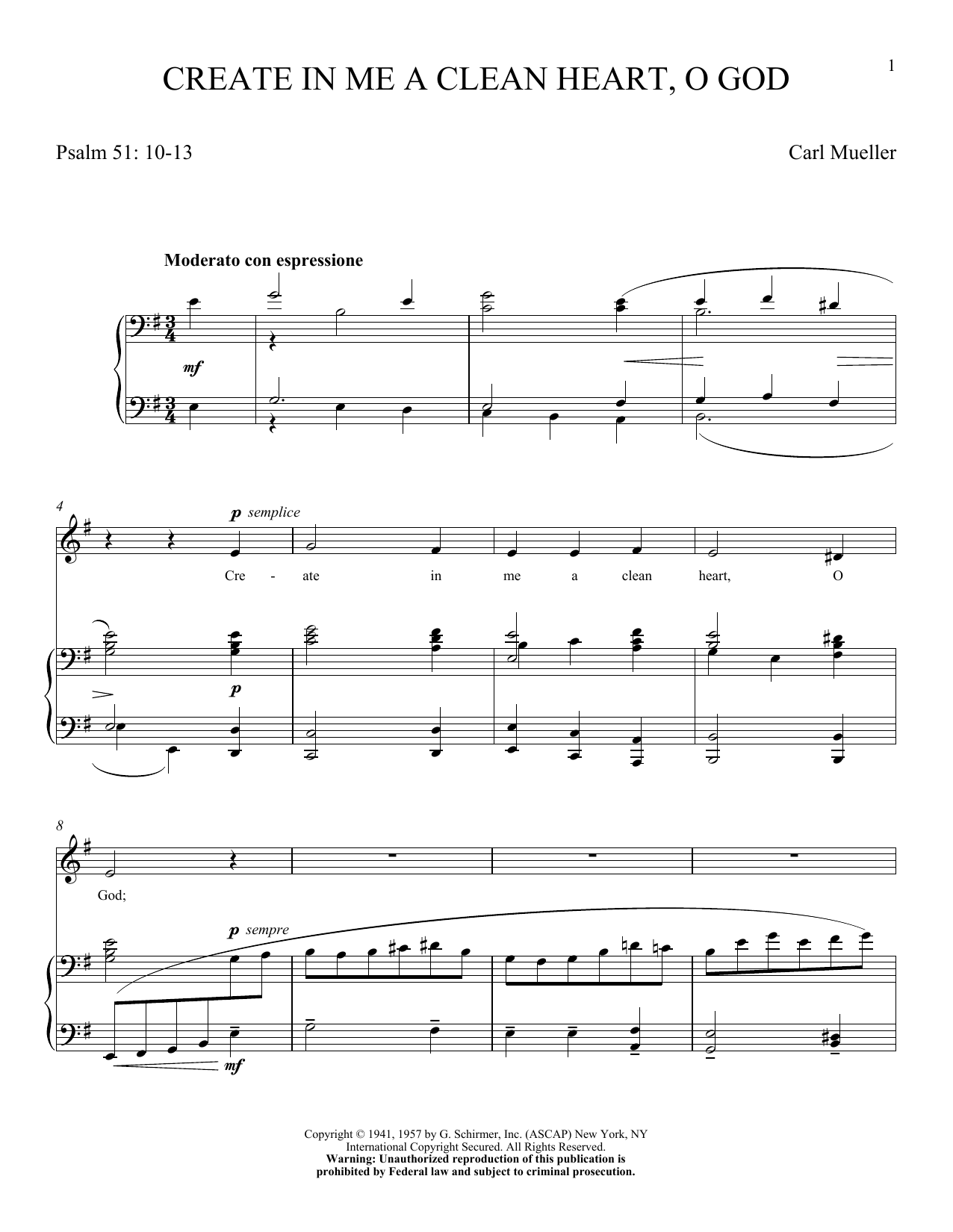 Partition piano Create In Me A Clean Heart, O God de Carl Mueller - Piano Voix