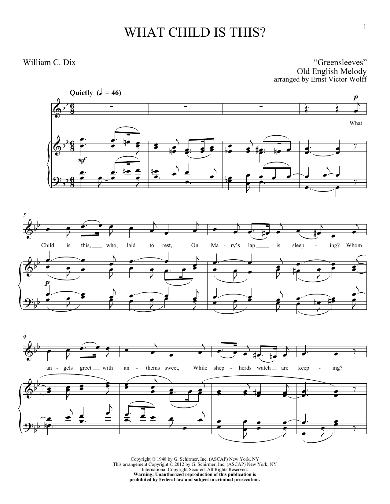 Partition piano What Child Is This de William C. Dix - Piano Voix