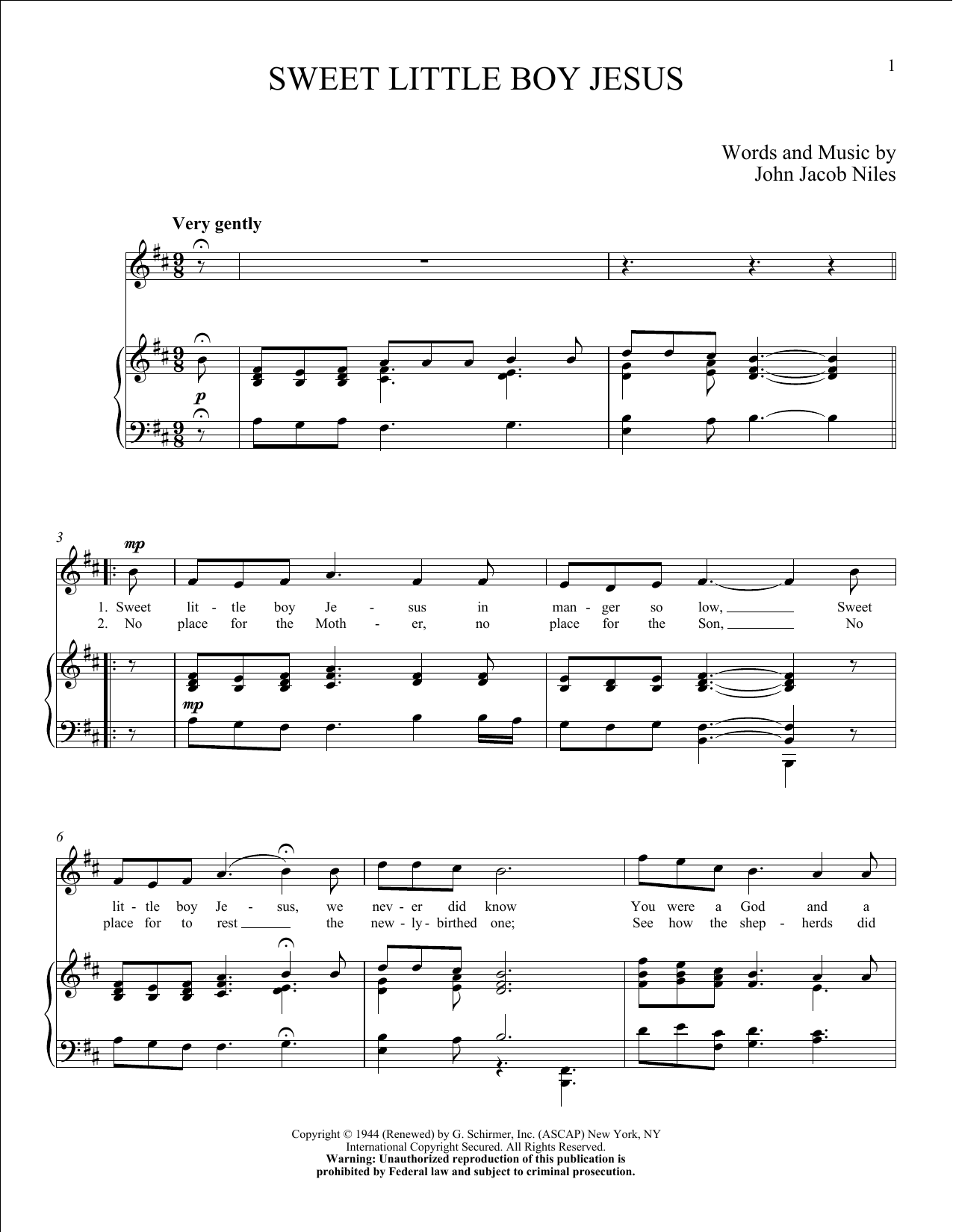 Partition piano Sweet Little Boy Jesus de John Jacob Niles - Piano Voix