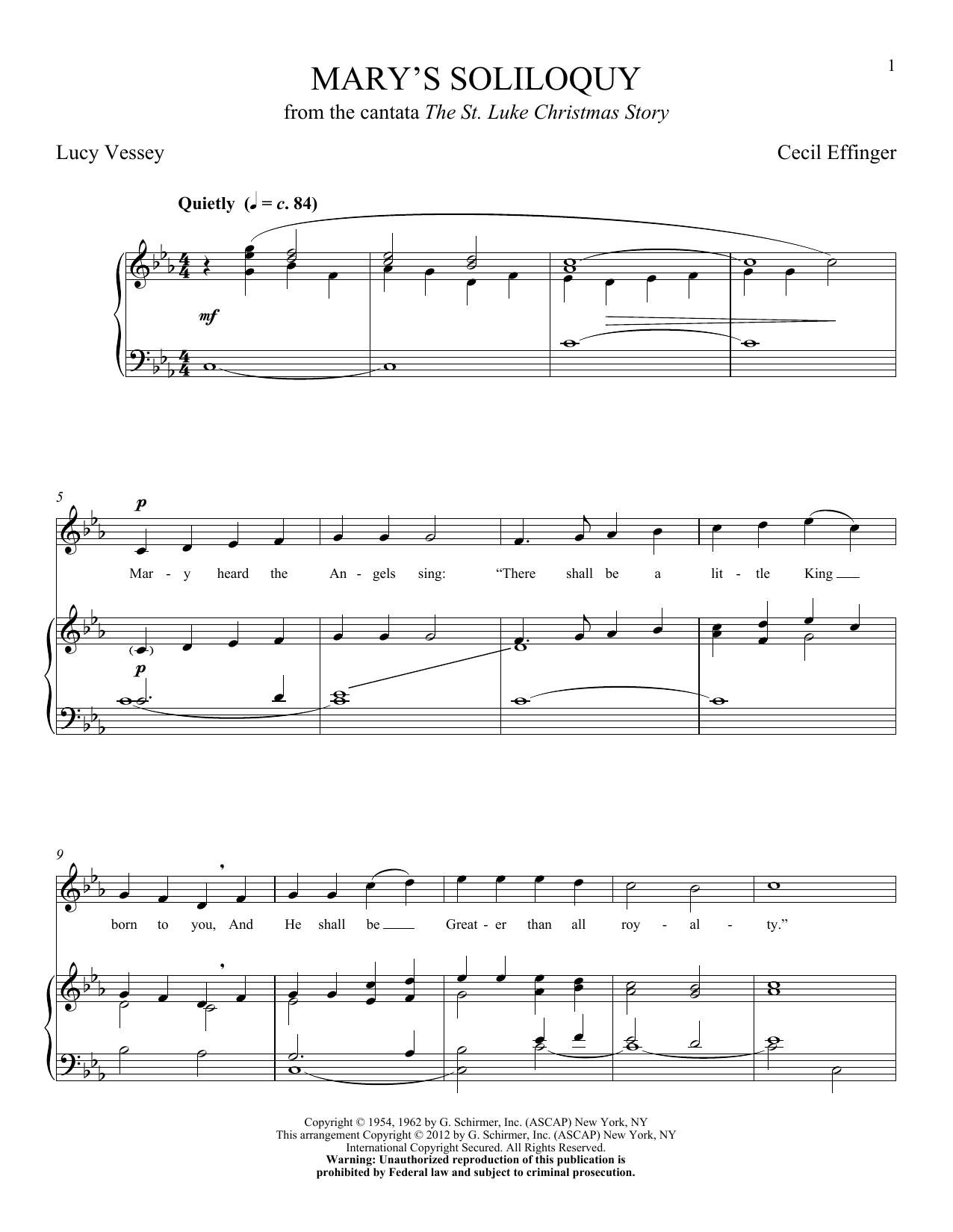 Partition piano Mary's Soliloquy de Cecil Effinger - Piano Voix